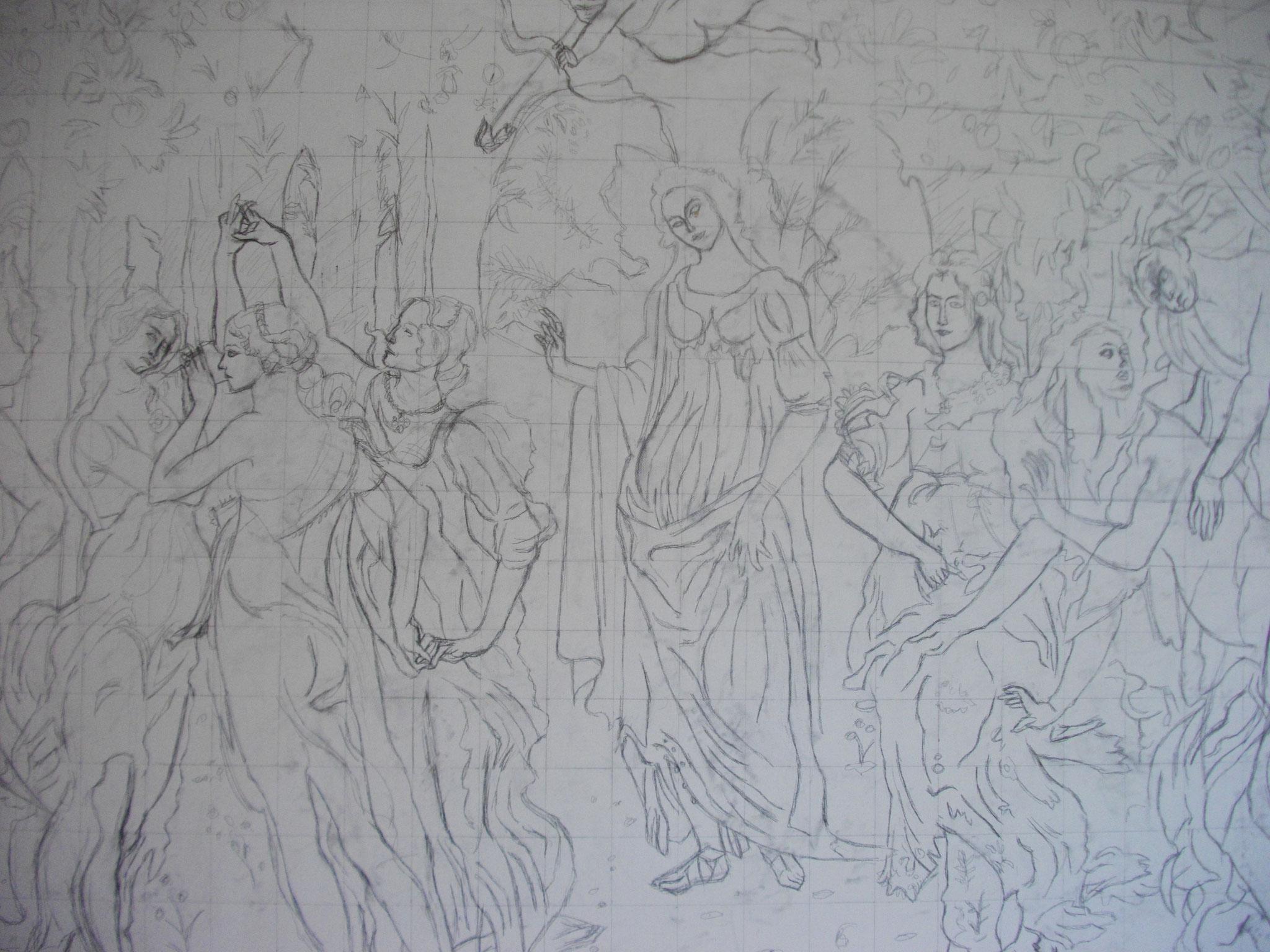 Dessin :Technique reproduction du Printemps de Botticelli