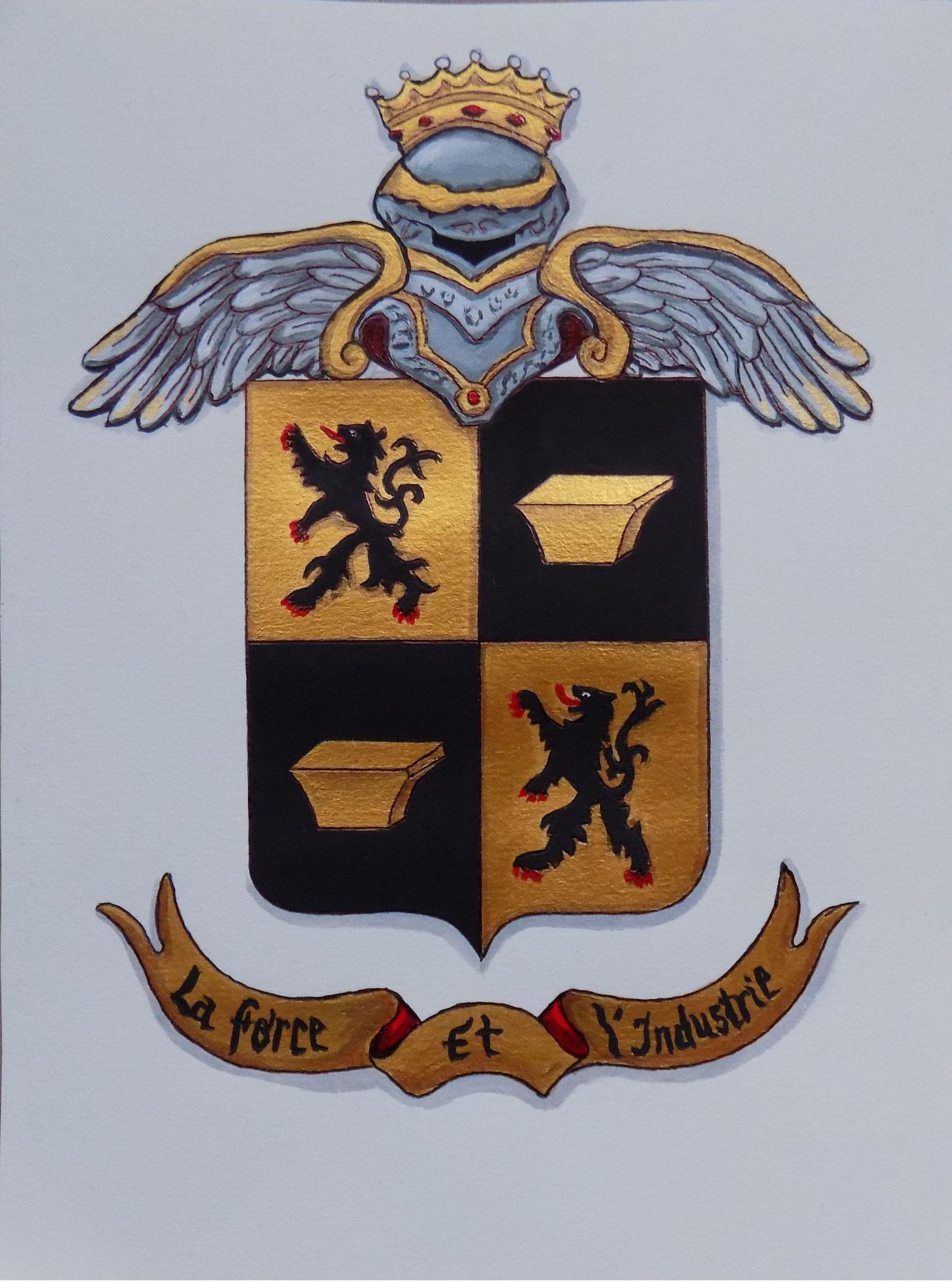 Enluminure Armoiries de famille 18 X 24 cm