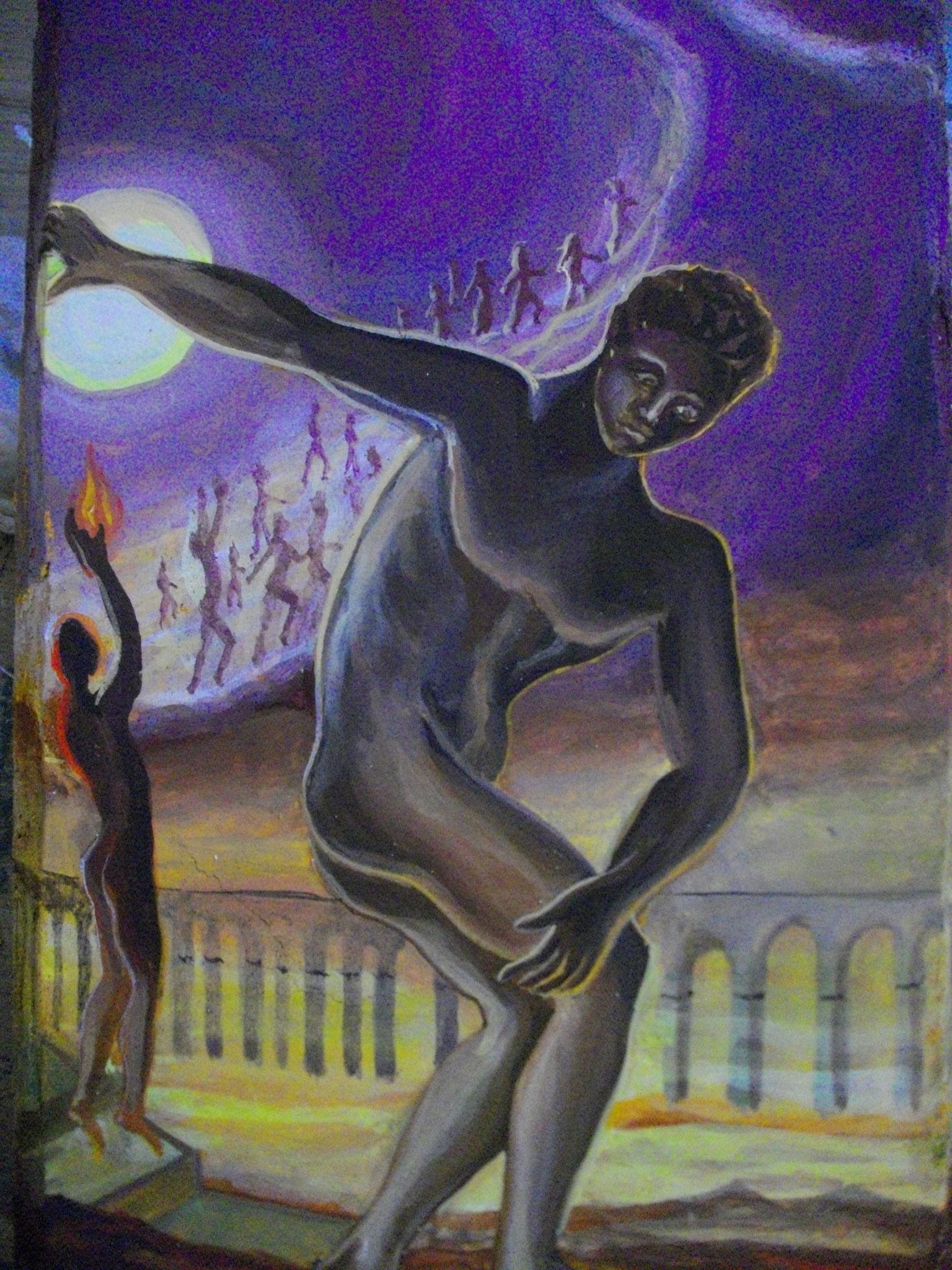 """Petit fresco (chaux + pigments)  Interprétation """"Athlète cosmique"""" S. Dali"""