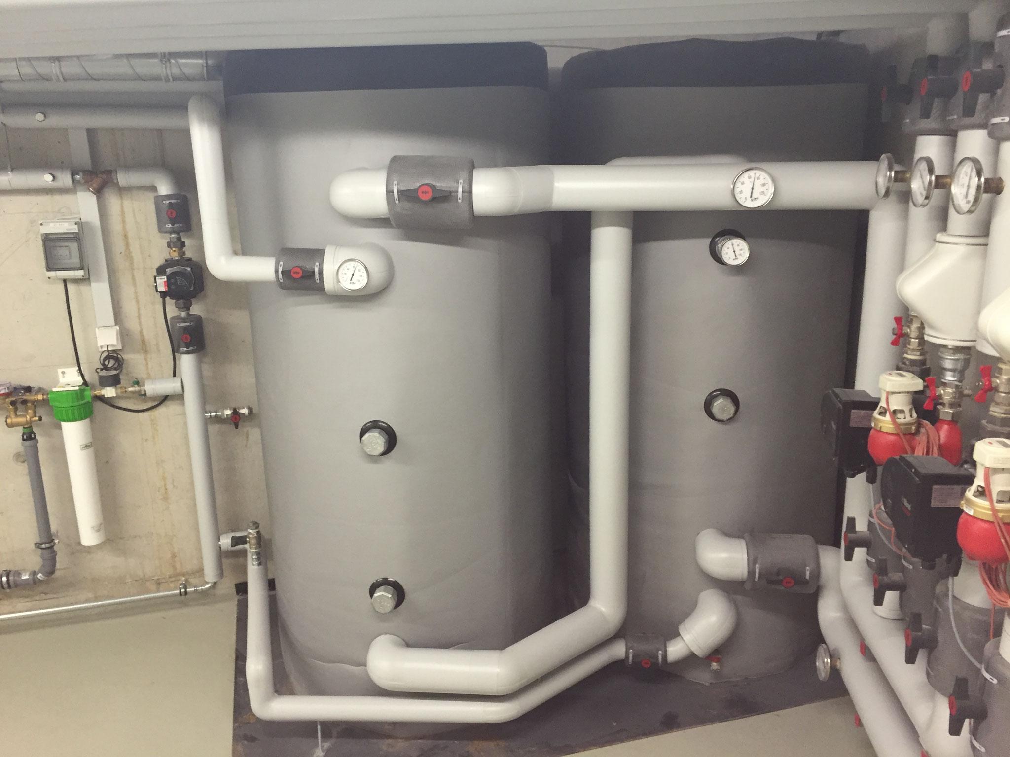 Pufferspeicher für die Frischwasserstationen