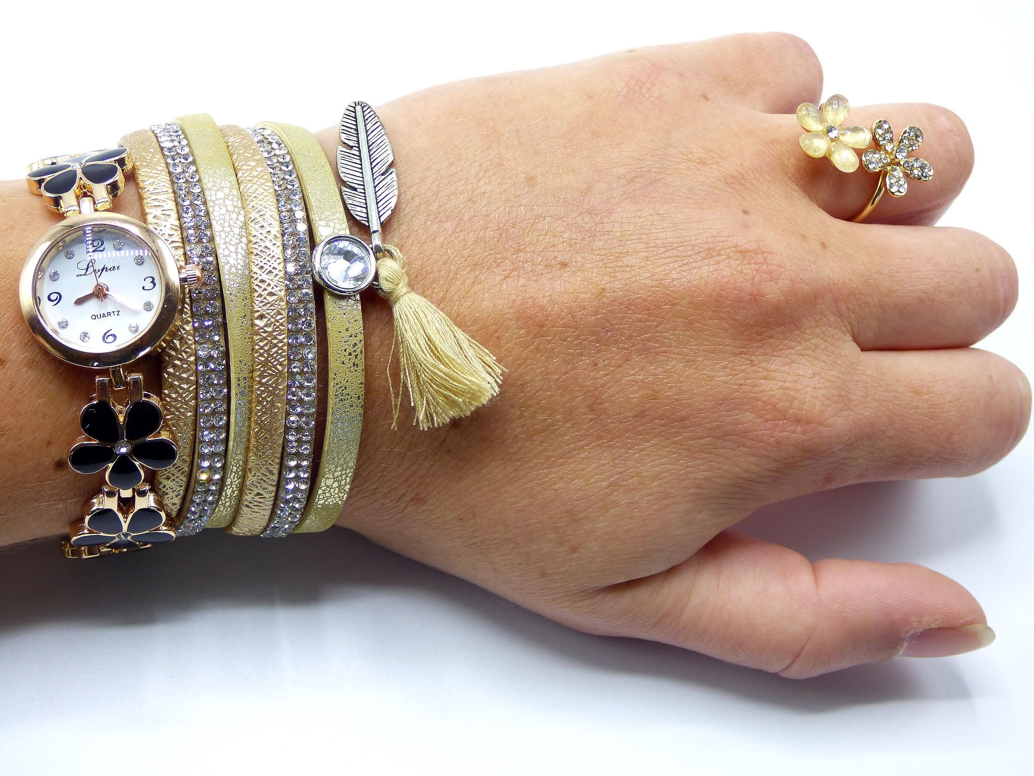combo bijoux et montre clic tendance