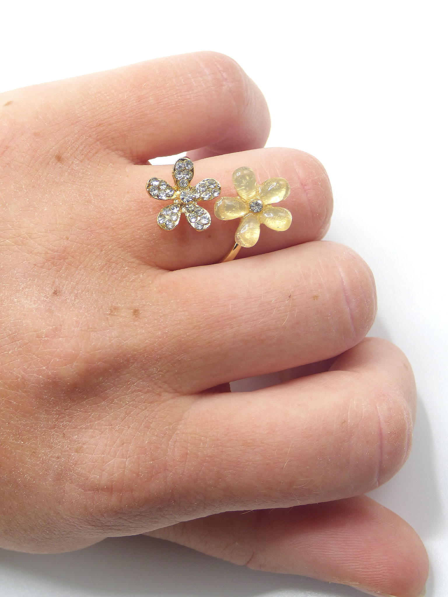 bague ajustable two flowers or