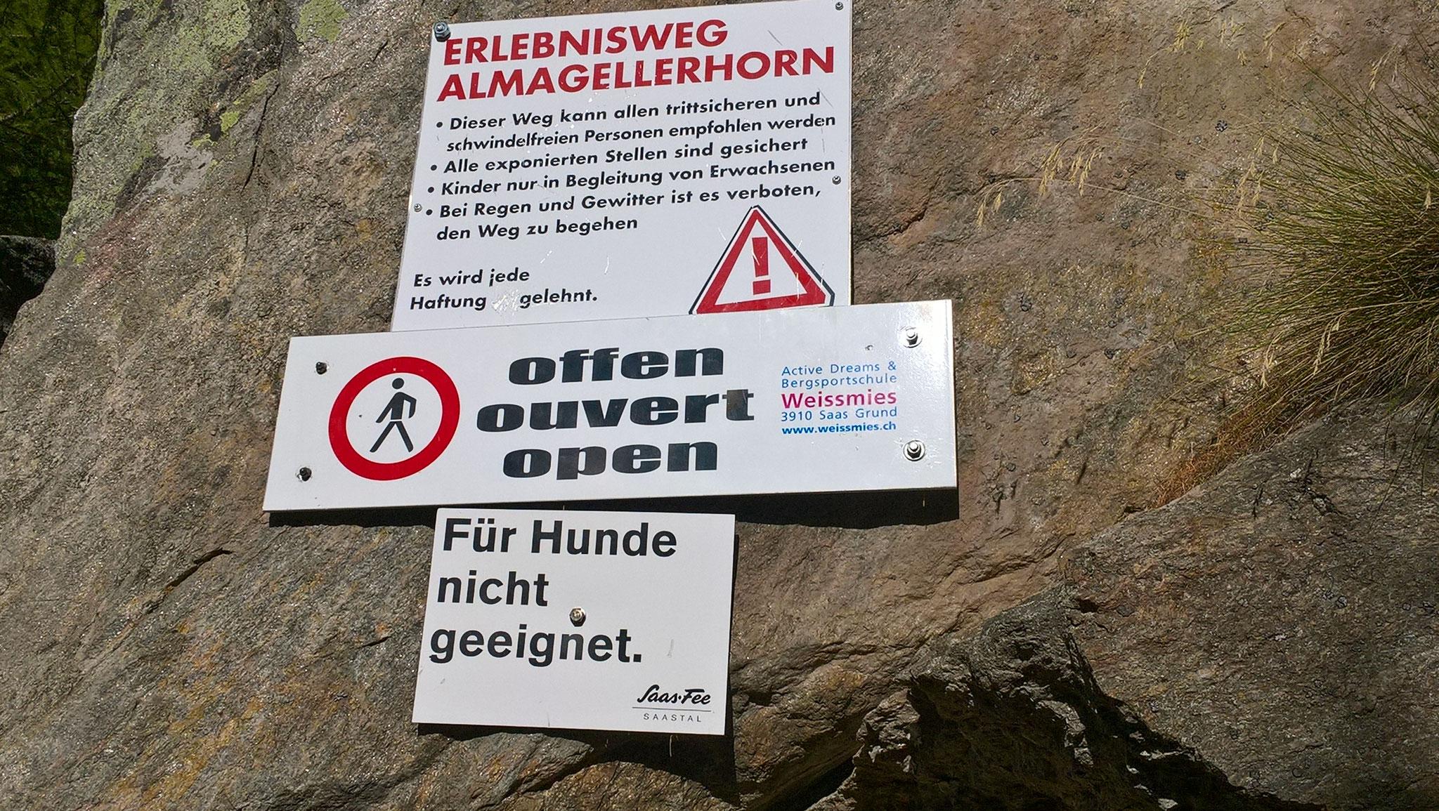 Start zum Erlebnisweg Almagellerhorn