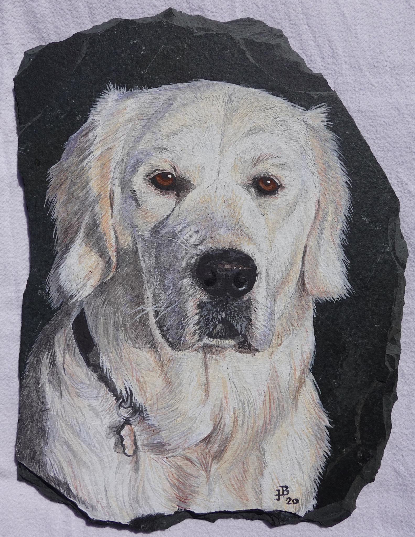 MEIN Portrait gemalt auf Schieferstein von Jacqueline Büchel, Rieden