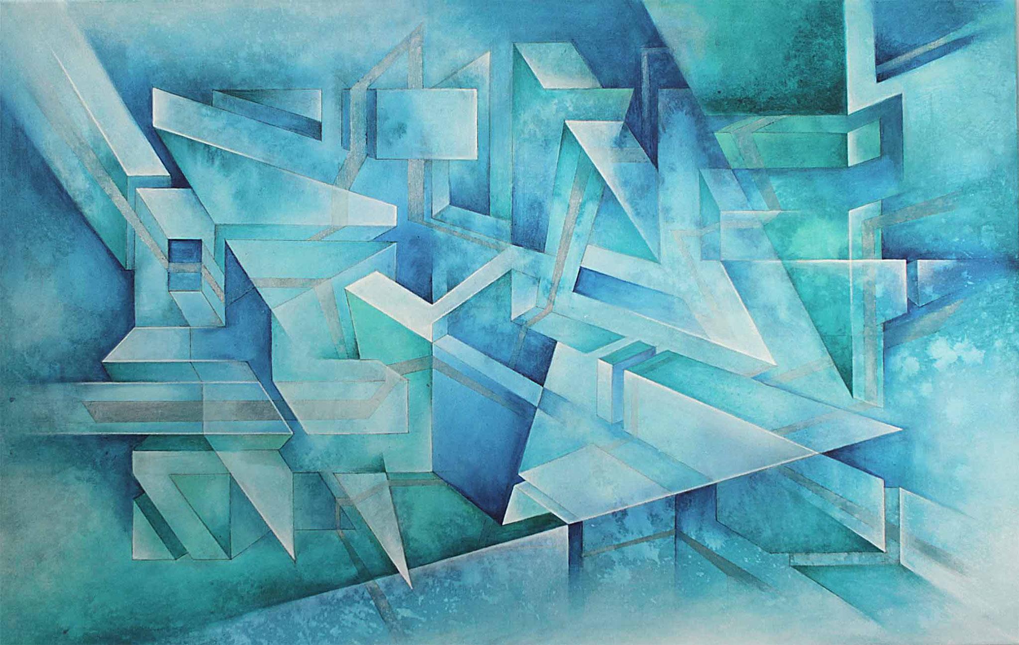 konstruktivistische Gemälde Komposition in türkis und Blautönen