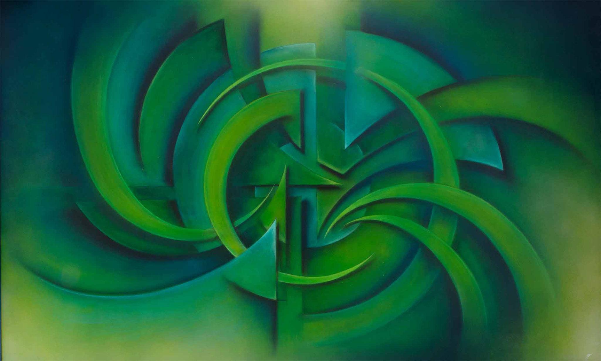 konstruktivistische Gemälde Komposition in Grüntönen