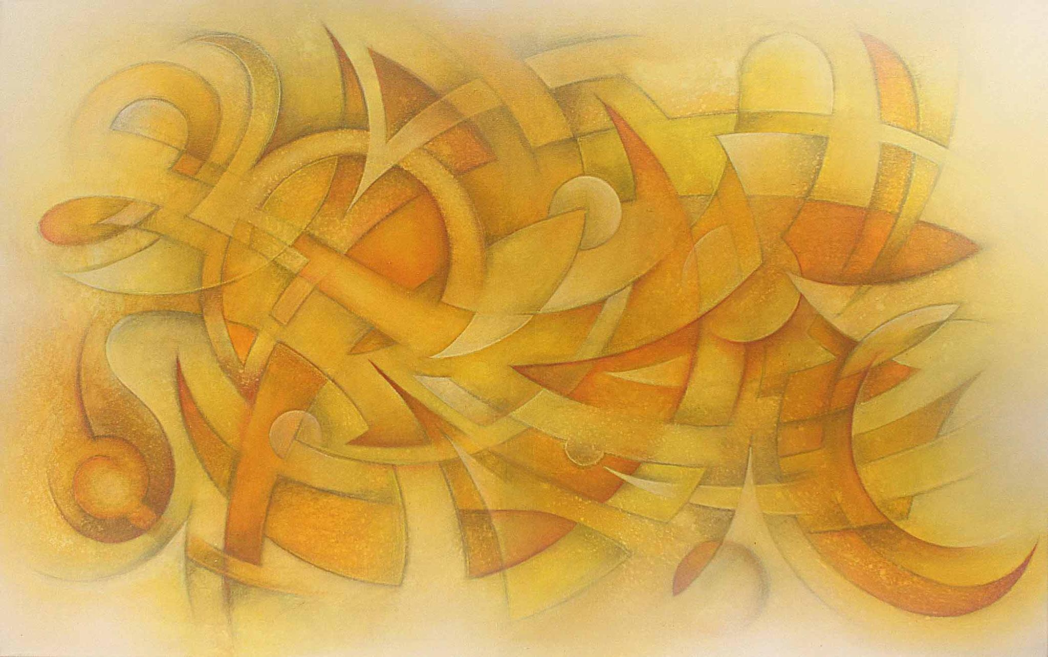 konstruktivistische Gemälde Komposition in gelb und Orangetönen