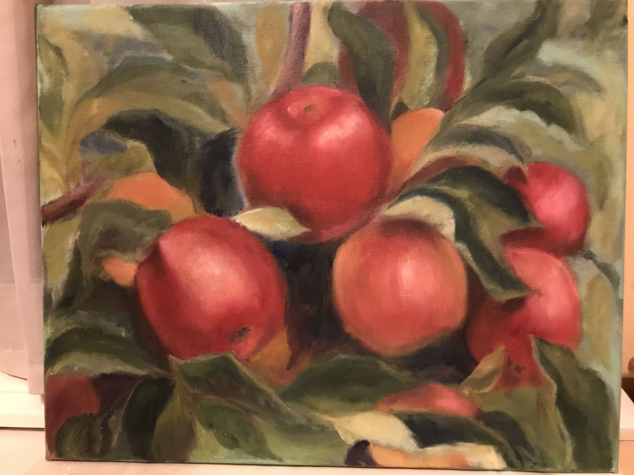 Rode appels . 40x50cm olie op linnen. 2019.