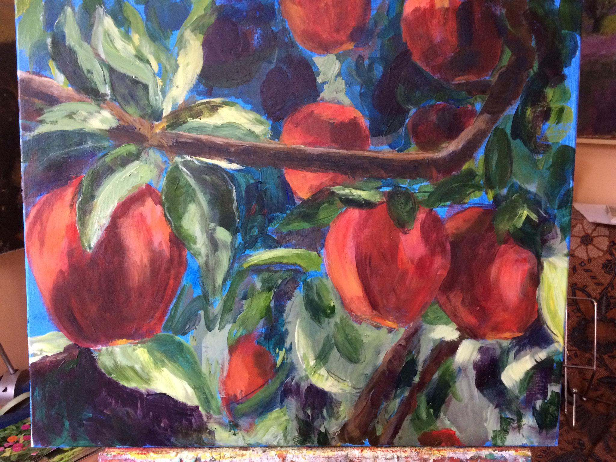 Rode appels. 50x60cm. olie op linnen. 2018.