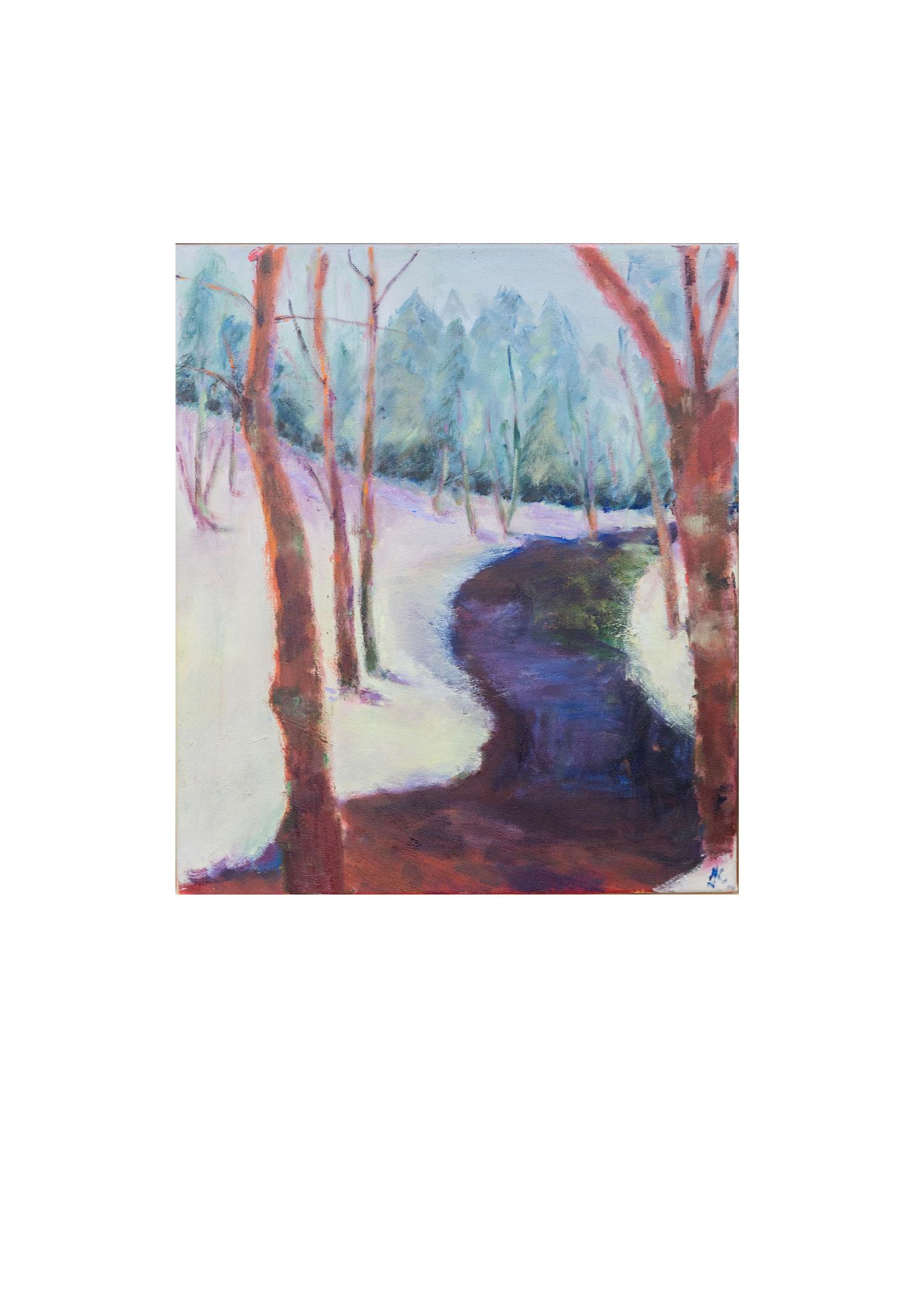 Winterlandschap. olie op doek. 50 bij 60 cm. 2017 verkocht.