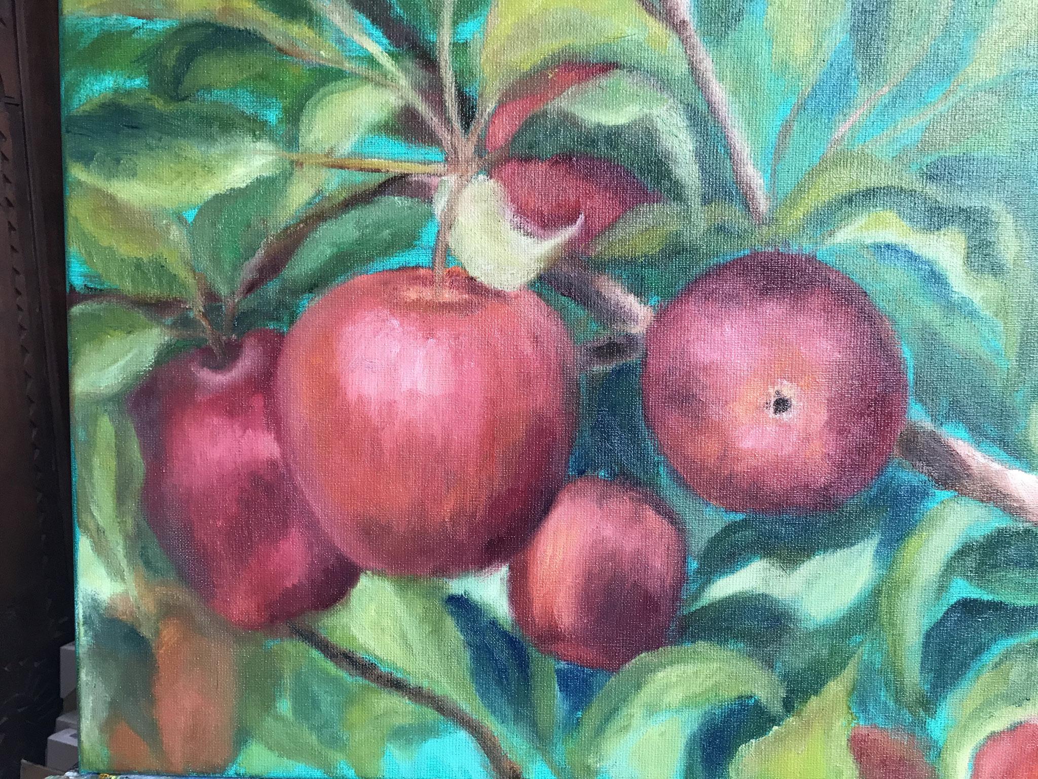 Rode appels met veridiaan II 40x50cm olie op linnen. 2019.
