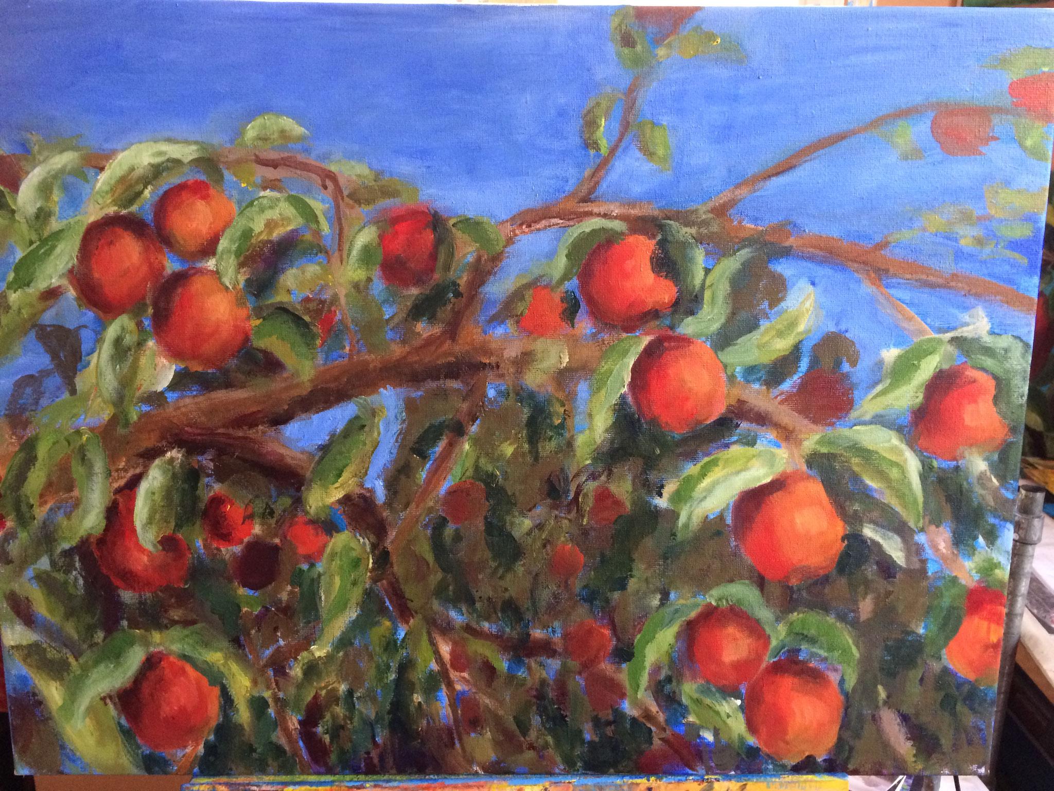 Oranje appels in boom. 60x80cm. acryl op doek. 2018.