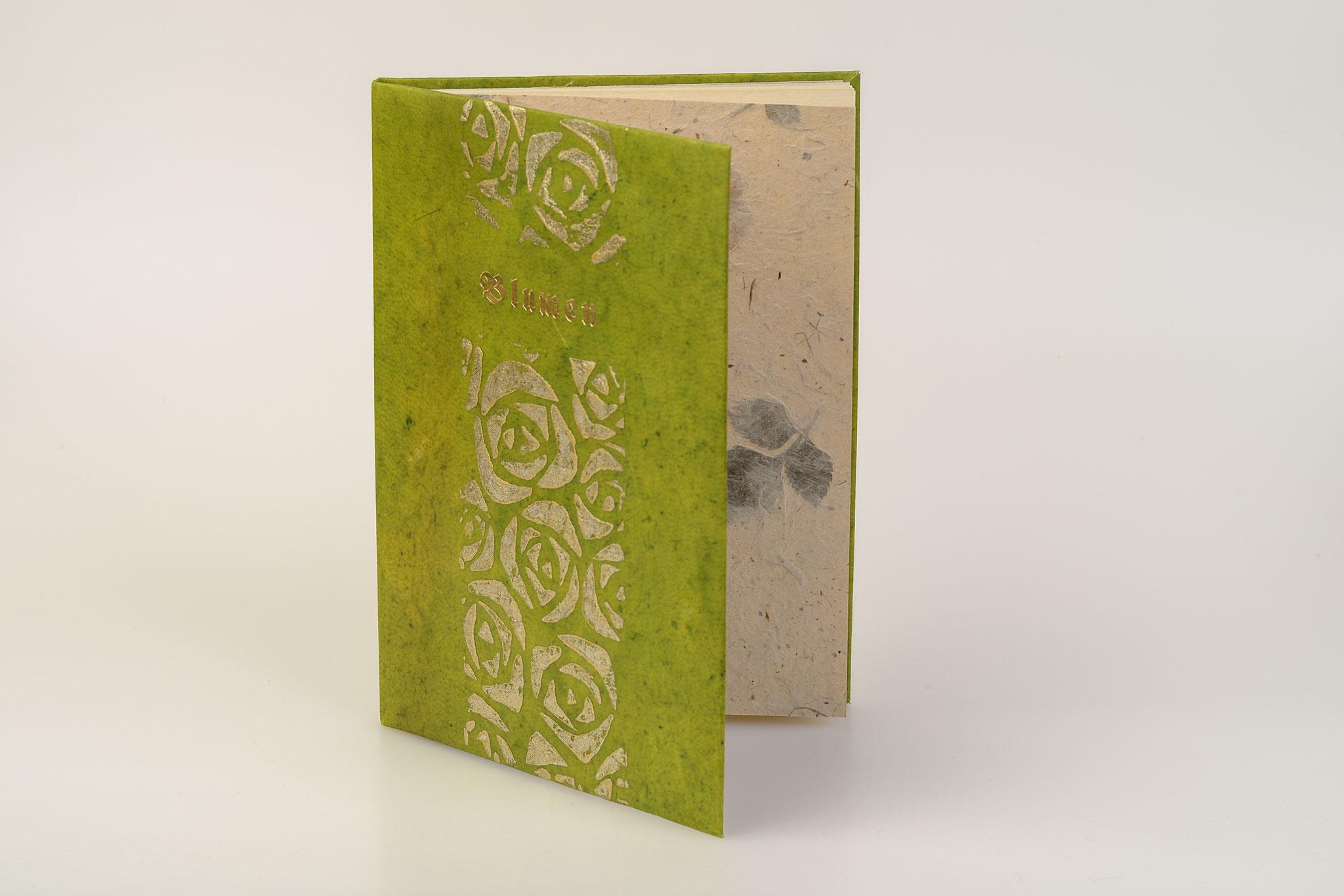 Blumen, Gedichte, illustriert von J.L. Gampp, flexibler Pergamentband, bedruckt, Goldtitel, verkauft