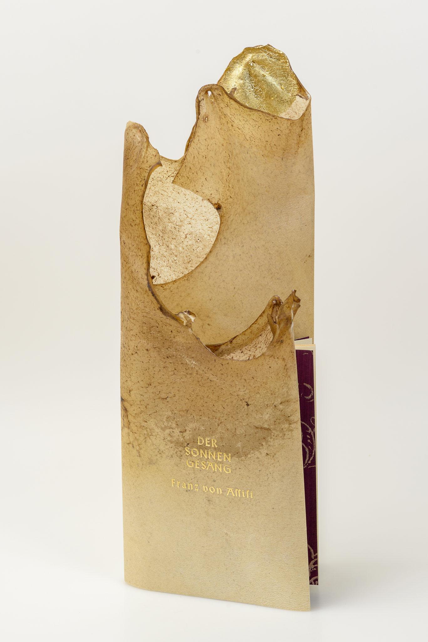 Der Sonnengesang von Franz von Assisi, Pergament Broschur mit Kaltvergoldung, verkauft