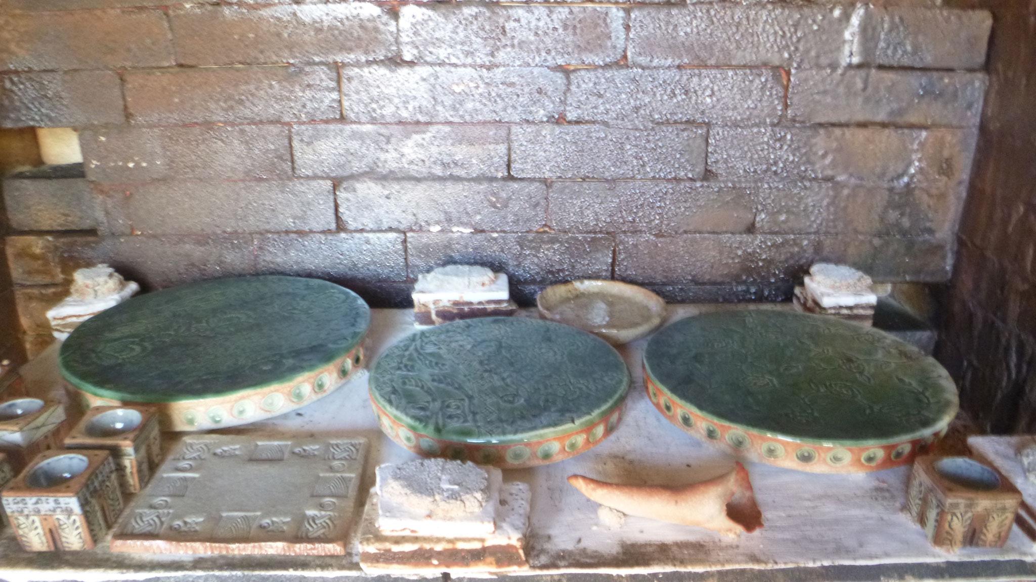 3 Platten mit Oribe Glasur