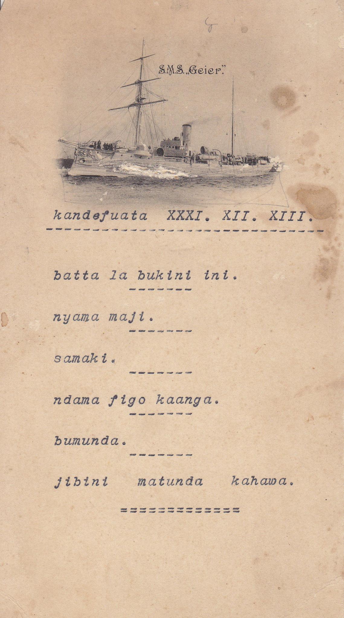 Das Silvestermenue vom 31.12.1913 auf Suaheli