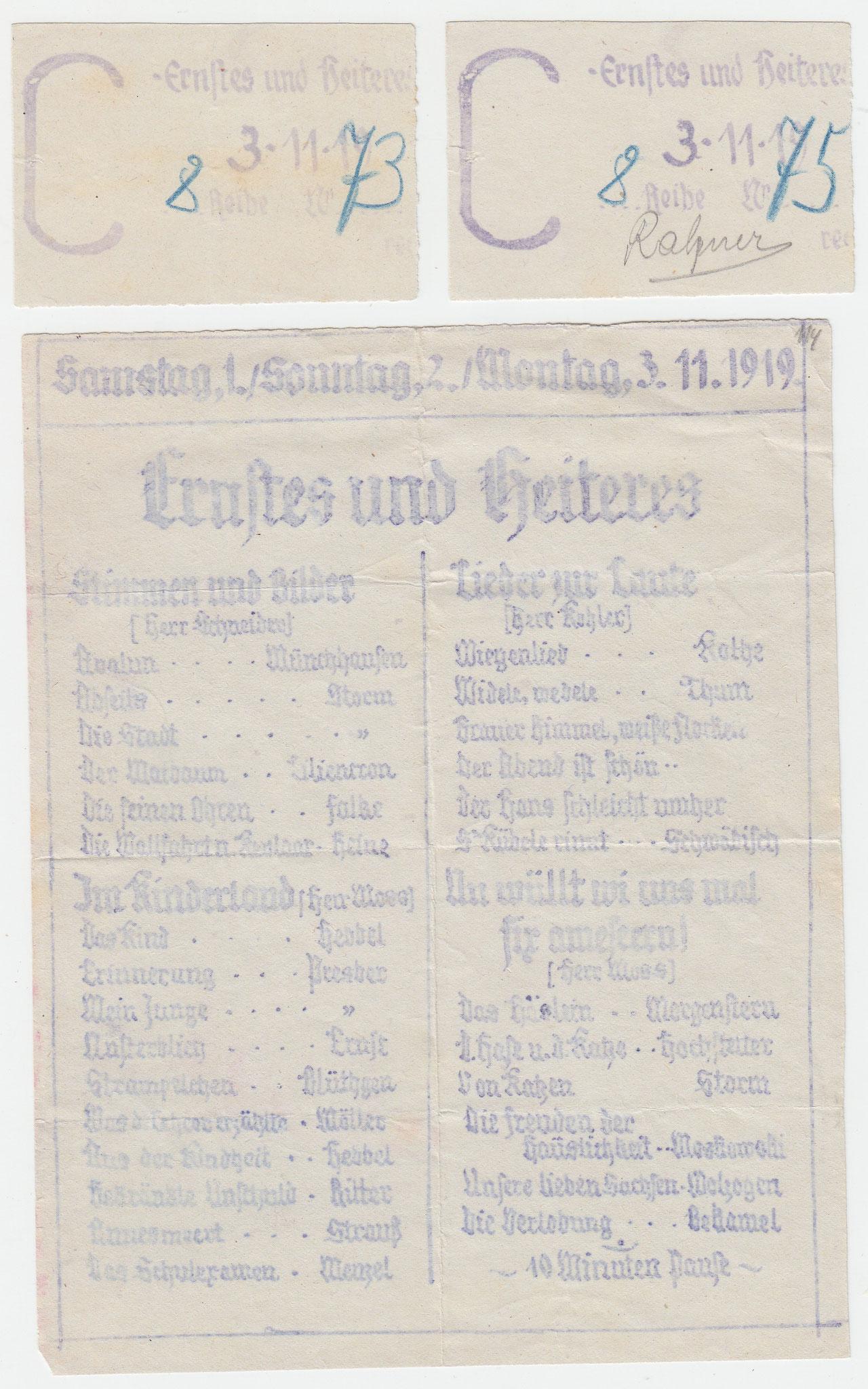 """Programm  """"Ernstes und Heiteres"""" vom November 1919 mit zwei Platzkarten"""