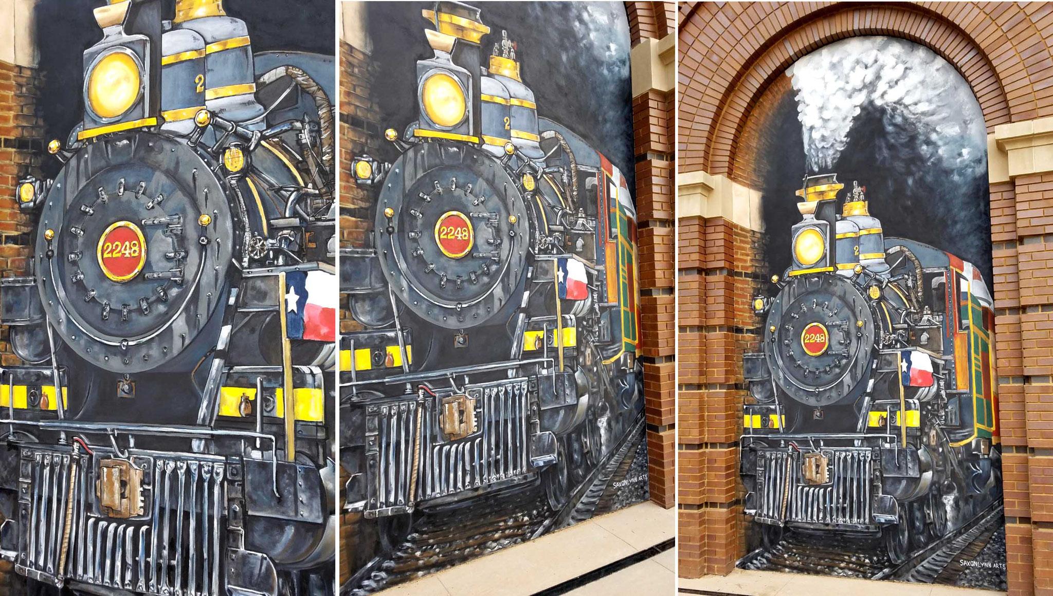 Harvest Hall 3D Locomotive Mural Grapevine Texas