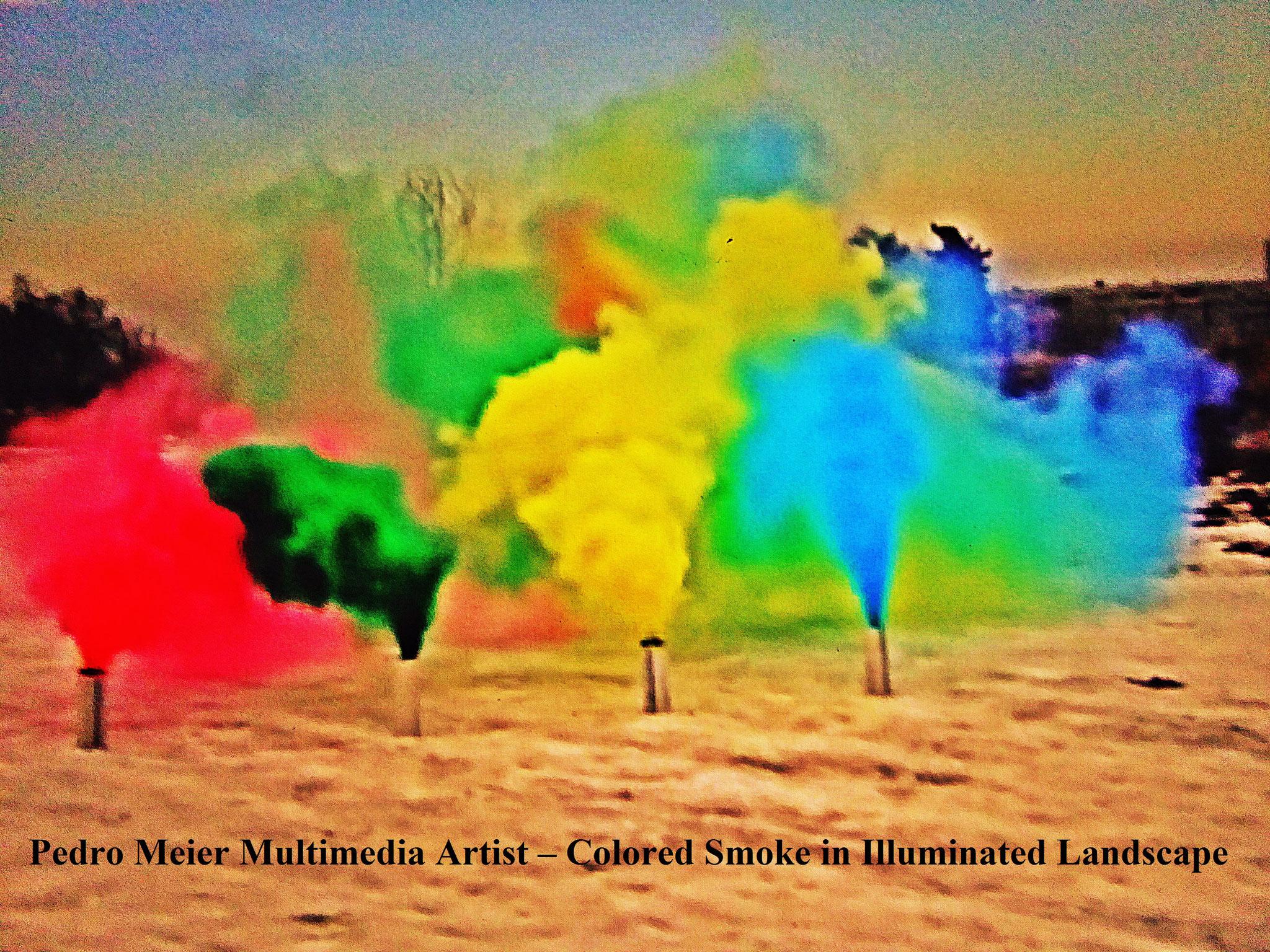 Colored Smoke in illuminated Landscape – by Pedro Meier Multimedia Artist 2017 – Niederbipp, Olten, Switzerland – Bangkok, Land art, minimal art, conceptual art, Earth art, spirituality, Member VISARTE, IAA AIAP UNESCO, Artforum, © P. Meier / ProLitteris
