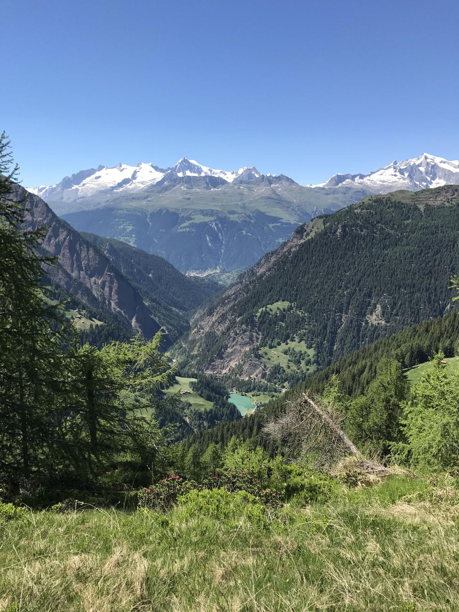 Blick ins Binntal und die Aletscharena