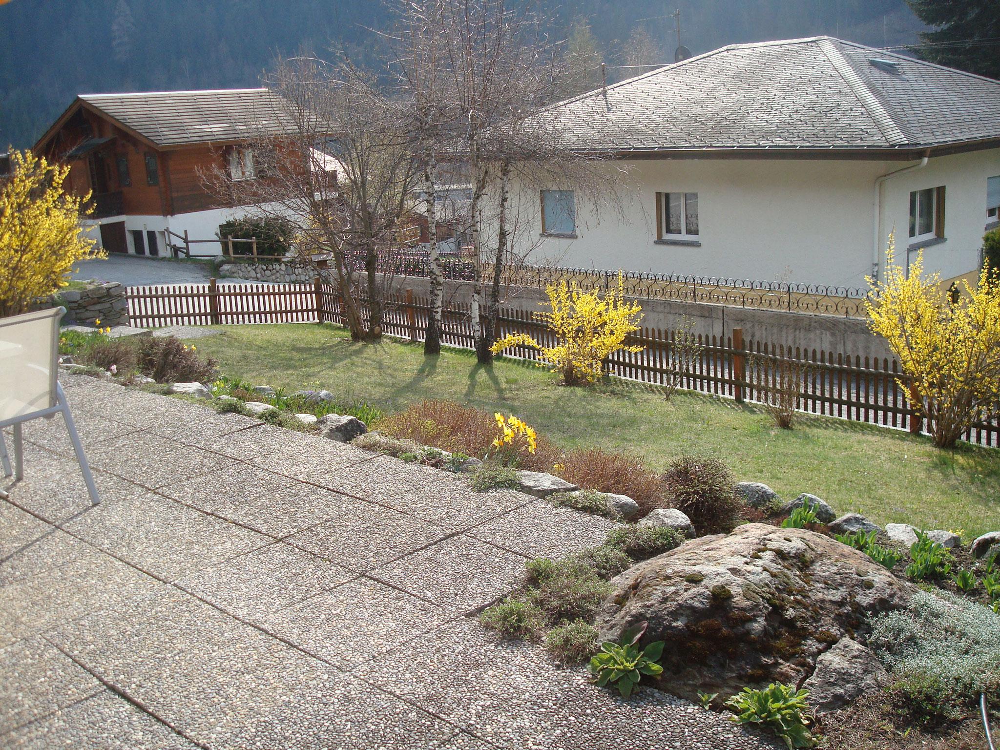 Blick vom Sitzplatz in Garten