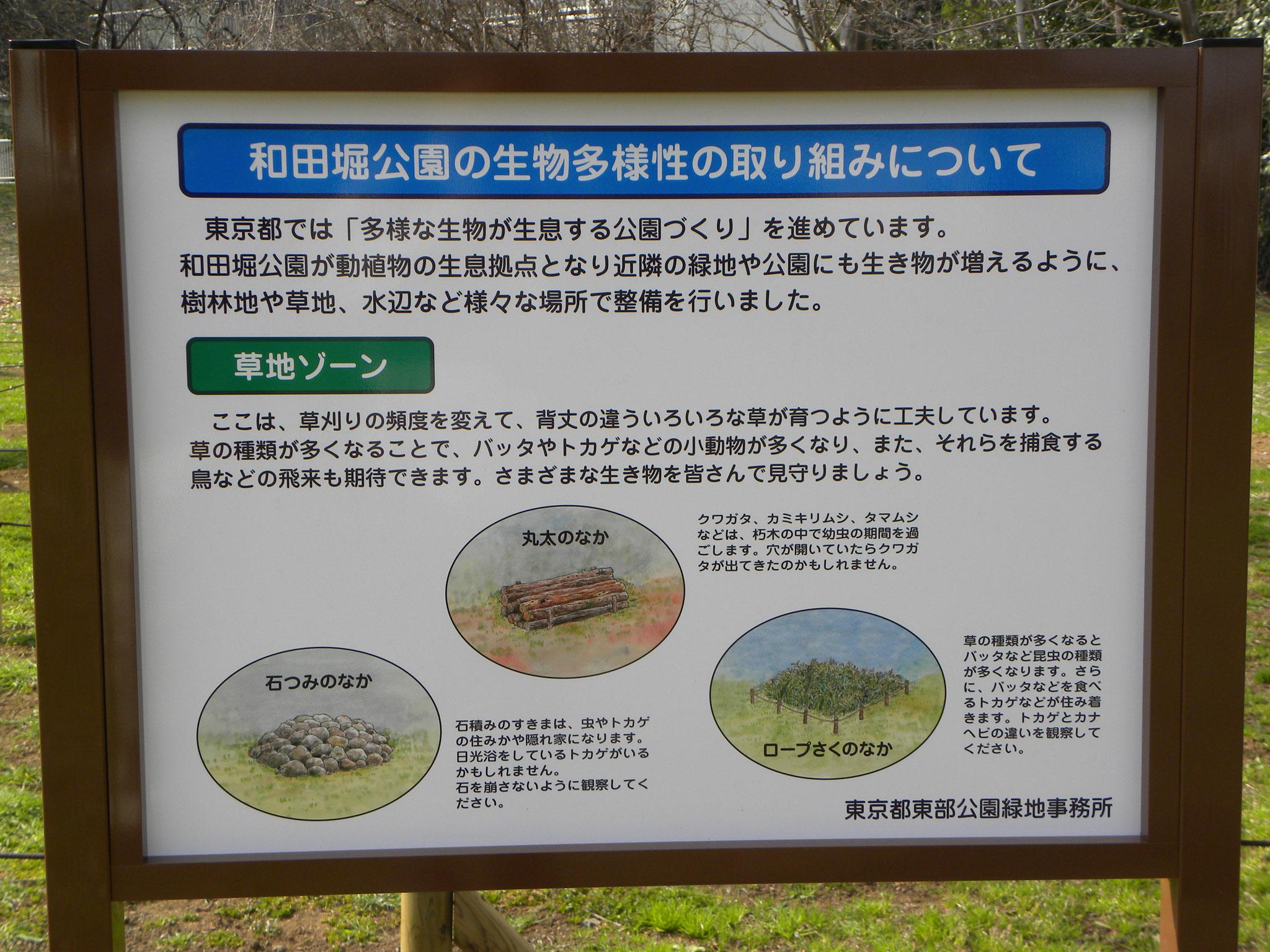 和田堀公園 看板(生物多様性)