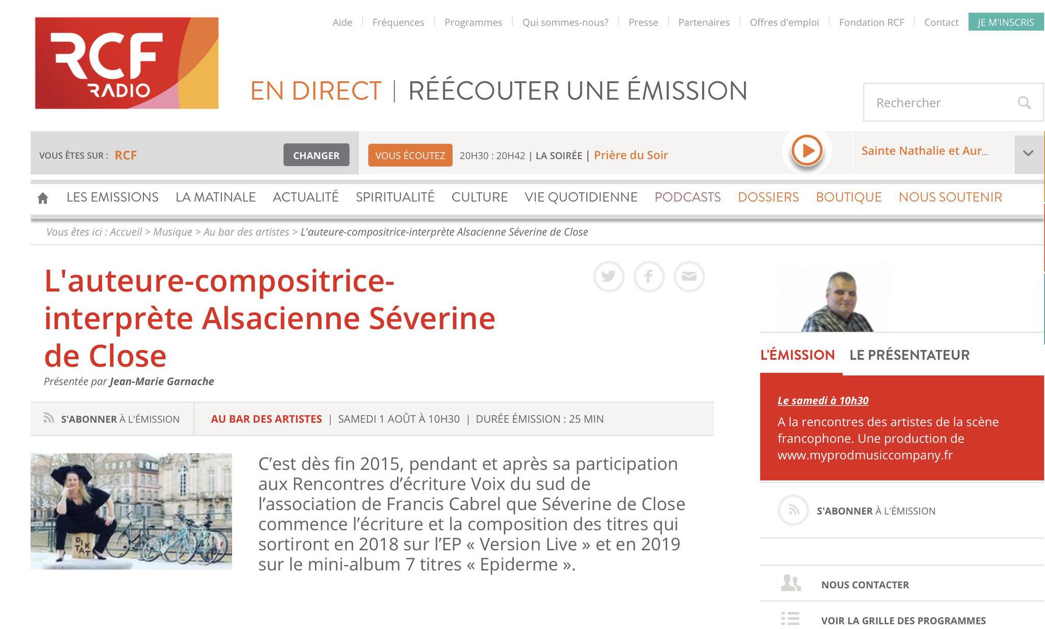 """Interview """"Au bar des artistes"""" RCF Jura et Besançon - Juillet/Aout 2020"""