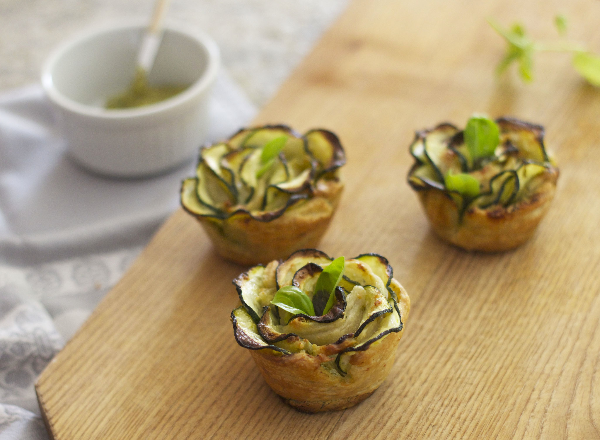 Tartelettes courgettes-pesto