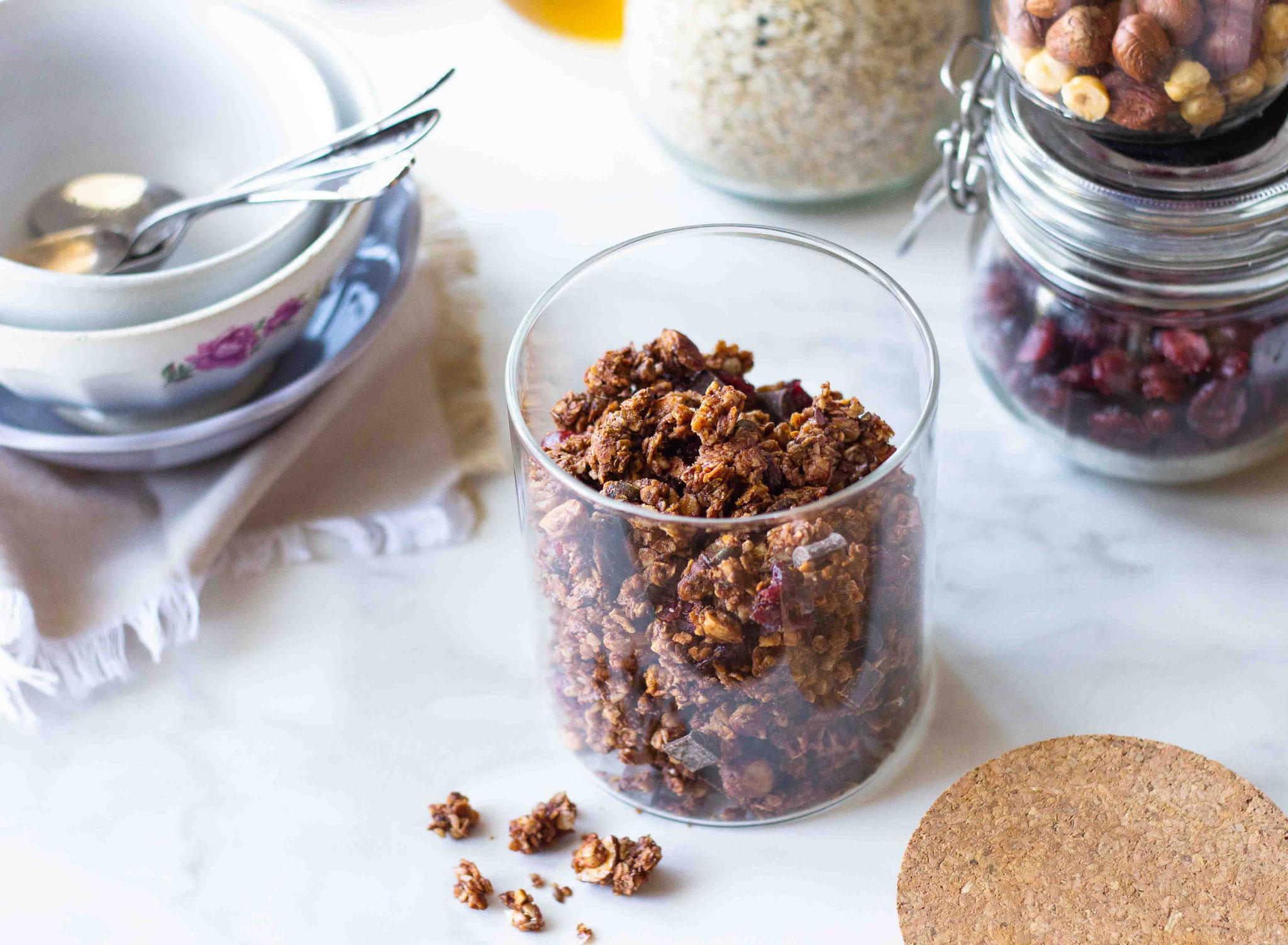 Granola maison, choco-cranberries