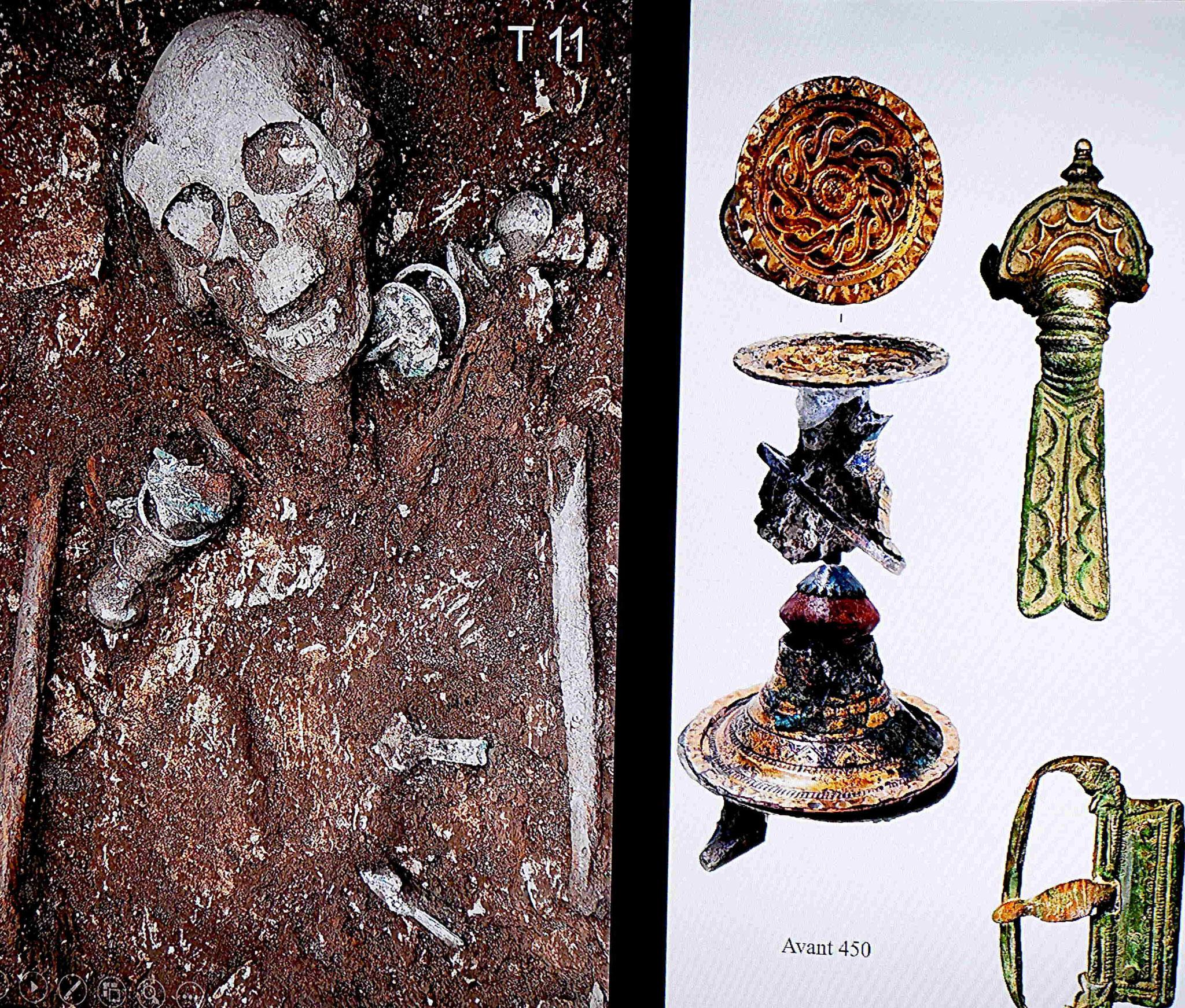 Tombe féminine avec fibules trompettes en place