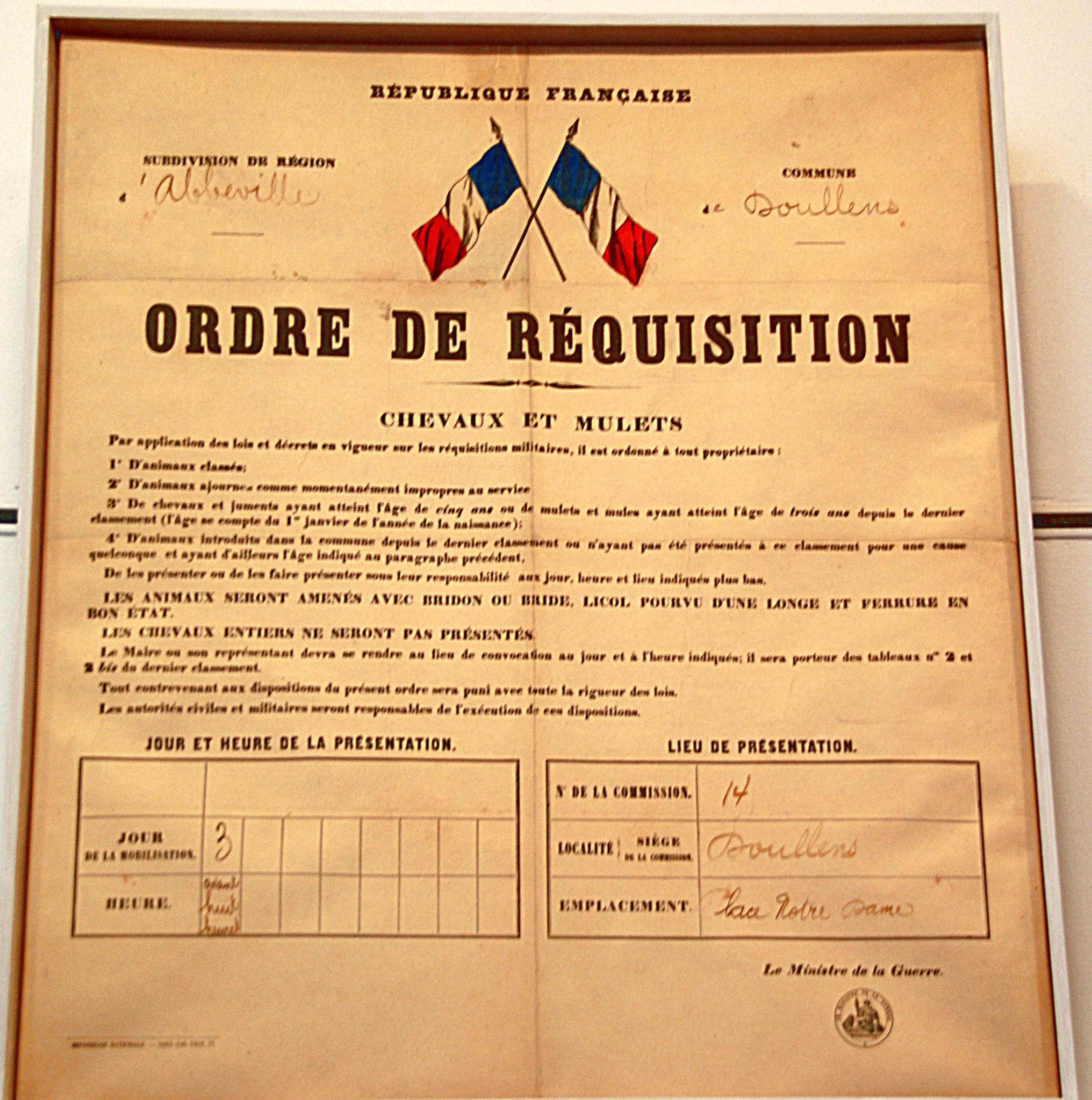 Ordre de réquisition des chevaux