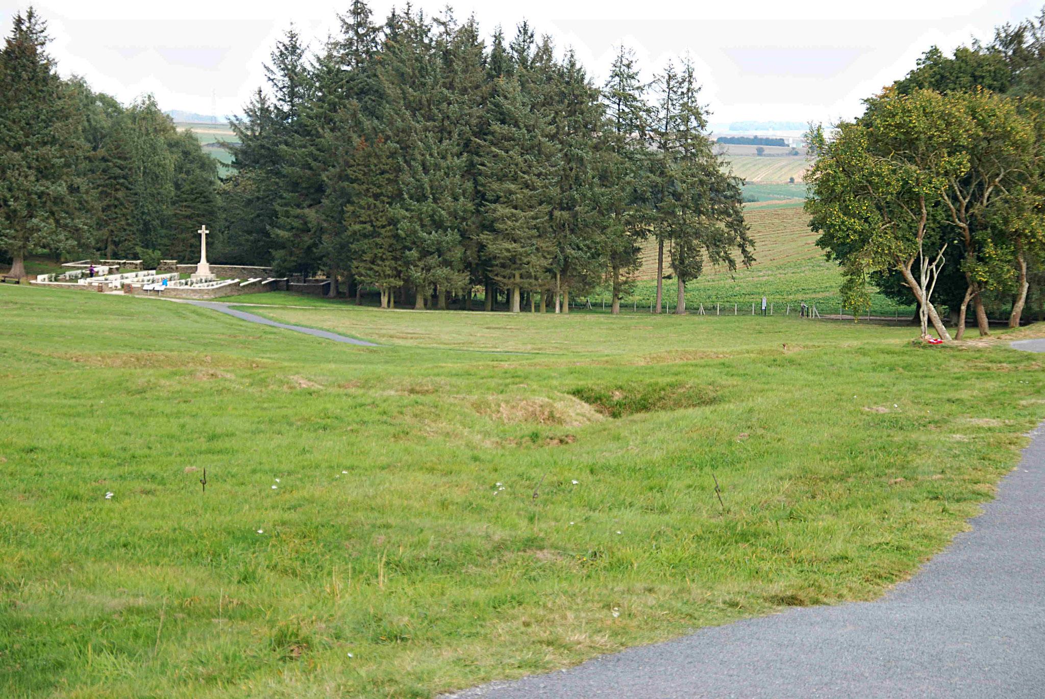Vue du champ de bataille vers le front allemand