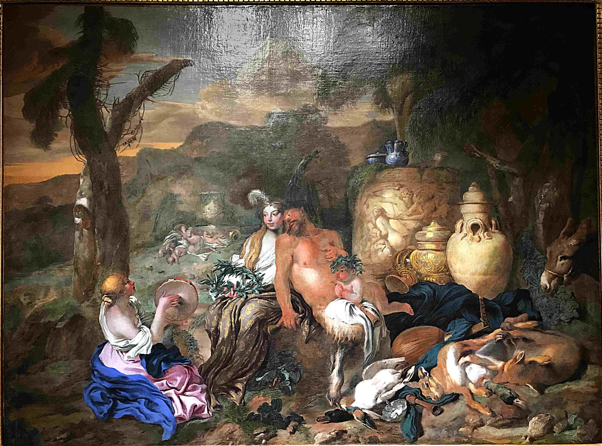 Castiglione Giovanni, Bacchantes et satyre, vers 1650, huile sur toile 145 x 195cm / Musée de Saint-Quentin