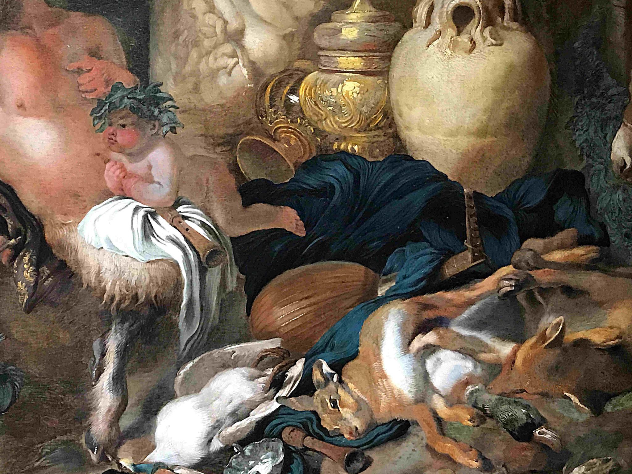 Castiglione Giovanni, Bacchantes et satyre, vers 1650, détail / Musée de Saint-Quentin