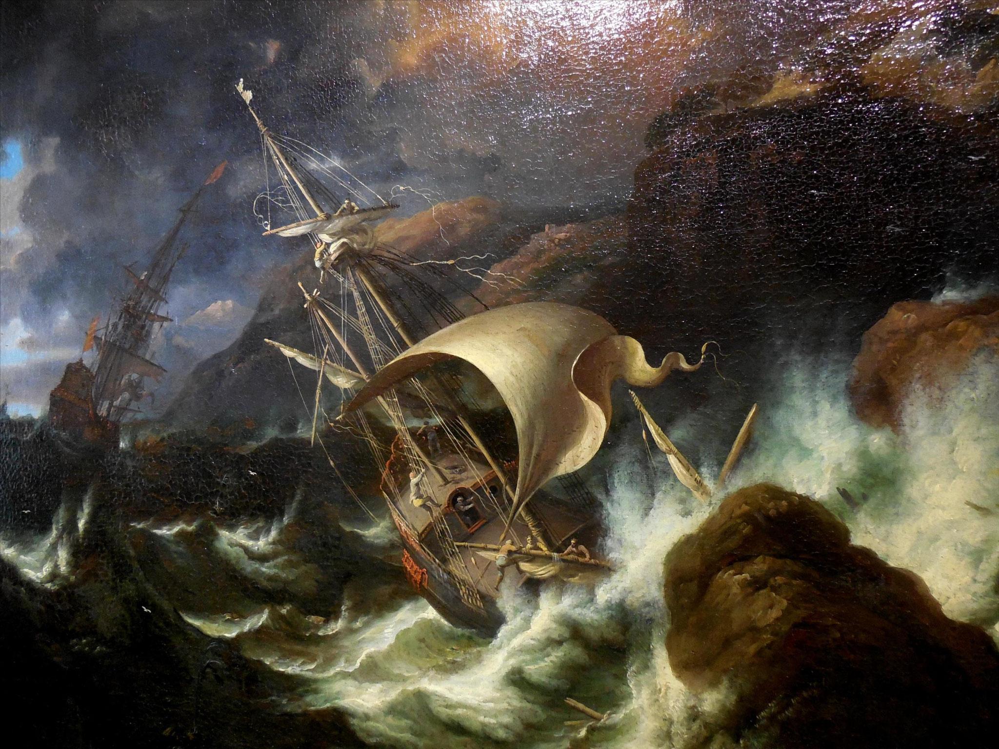 Pieter Mulier dit Tempesta, Tempête avec un naufrage, détail
