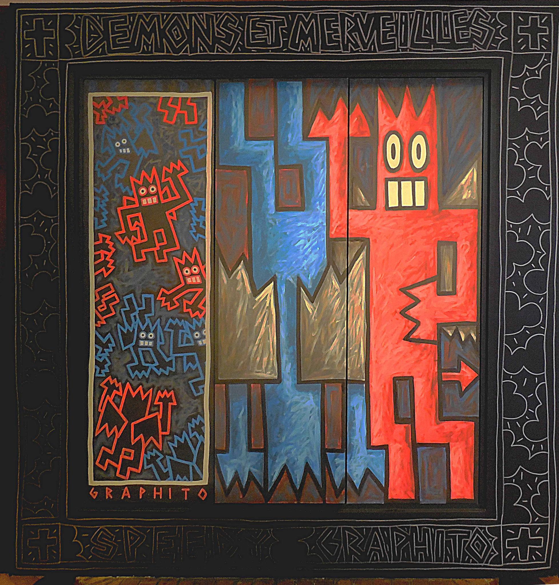 Paravent décoré de Dédé le démon, encadrement réalisé in situ par l'artiste