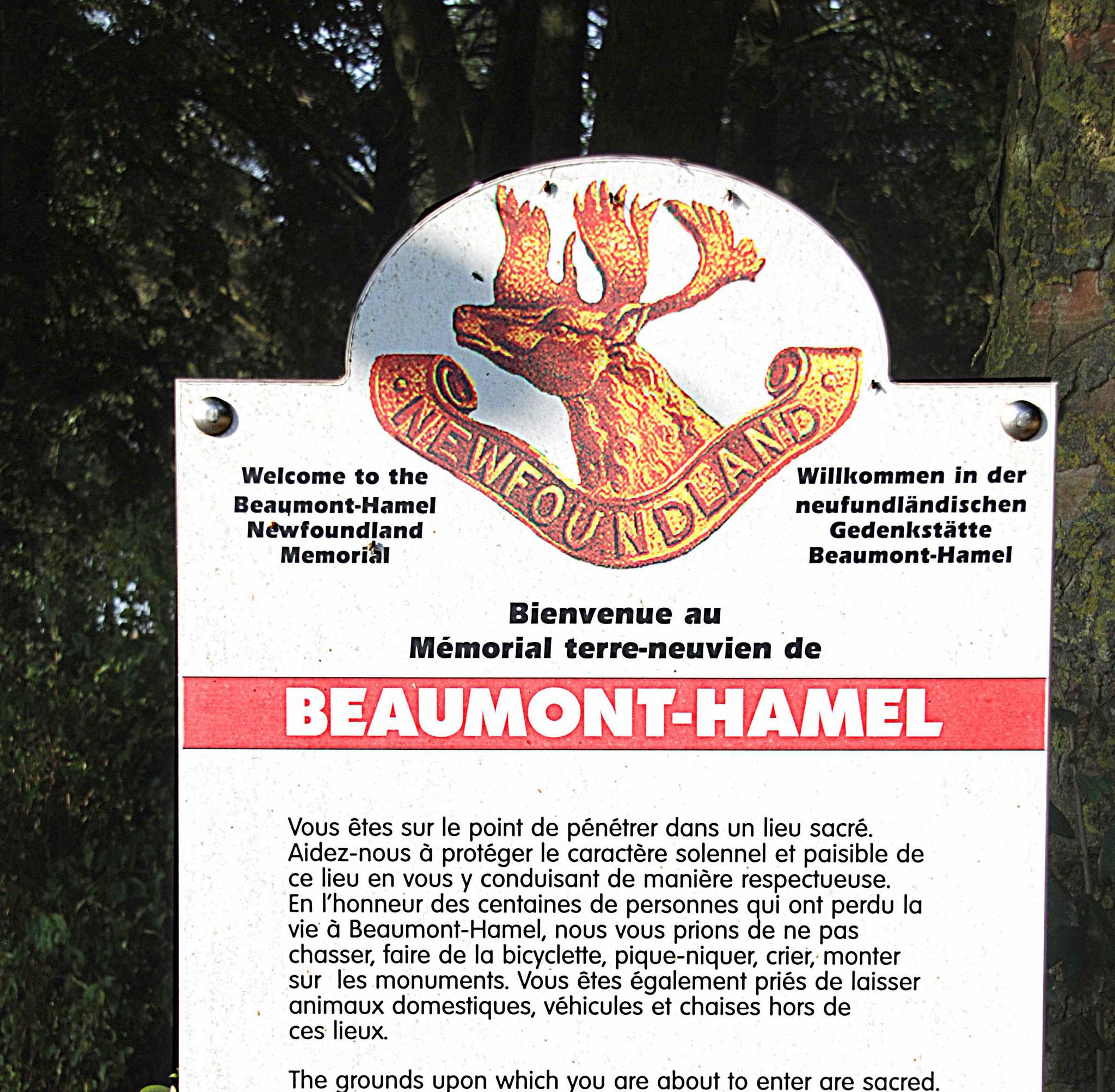 Le site de Beaumont-Hamel est particulièrement bien entretenu