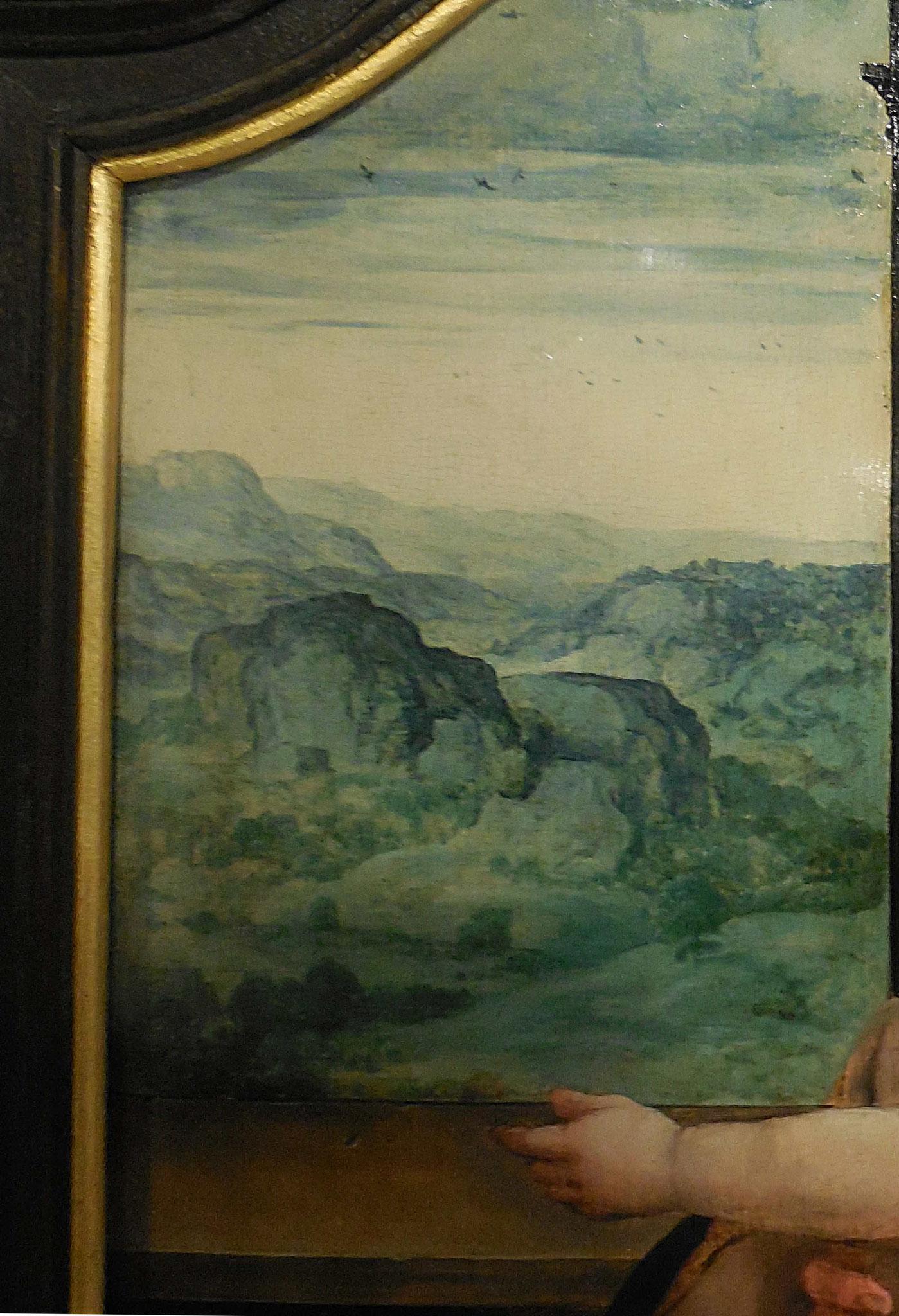Pieter Coecke van Aelst, Vierge aux cerises, détail du décor : fenêtre avec paysage