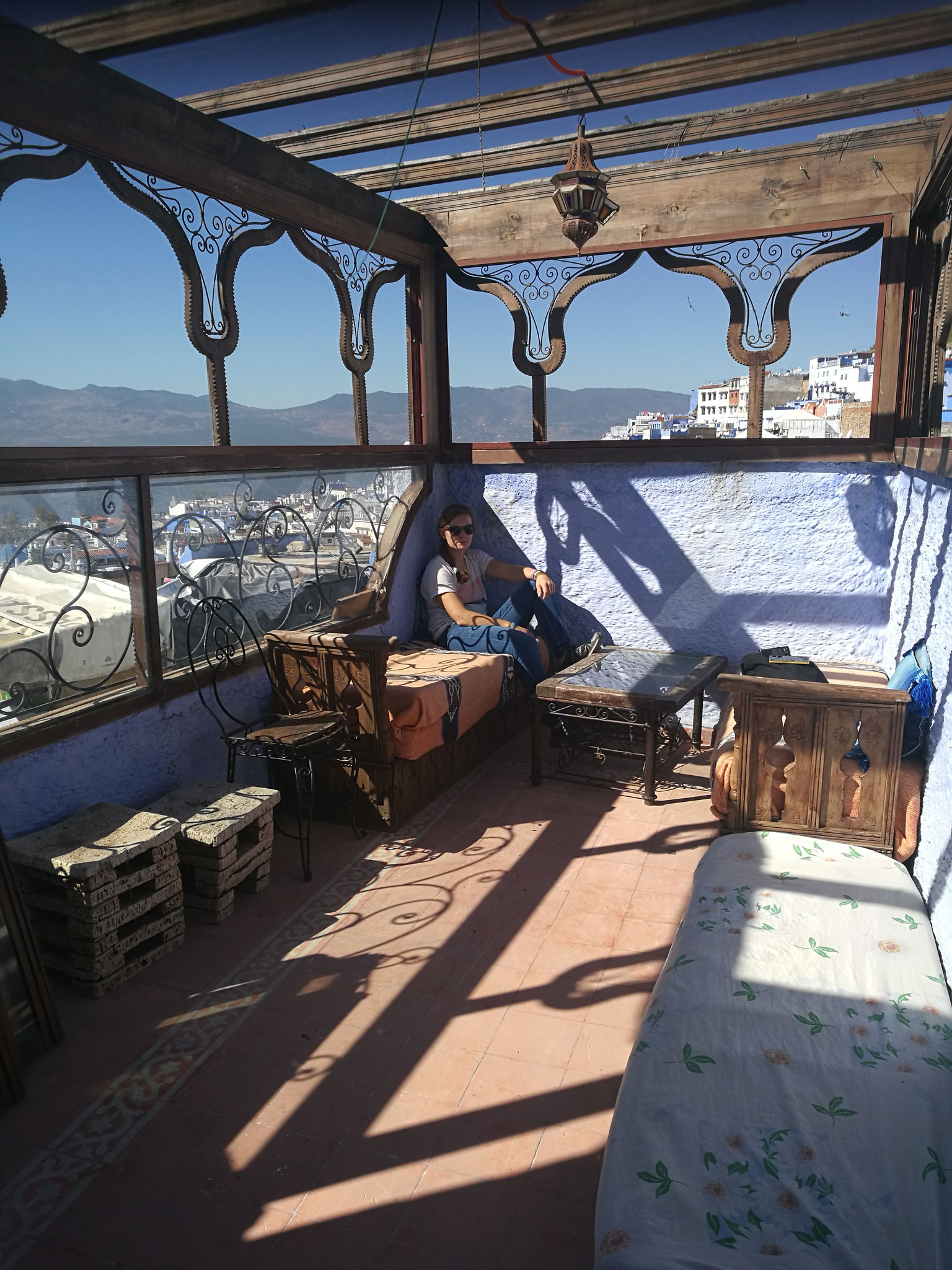 The roof top terrace, great view over Chefchaouen