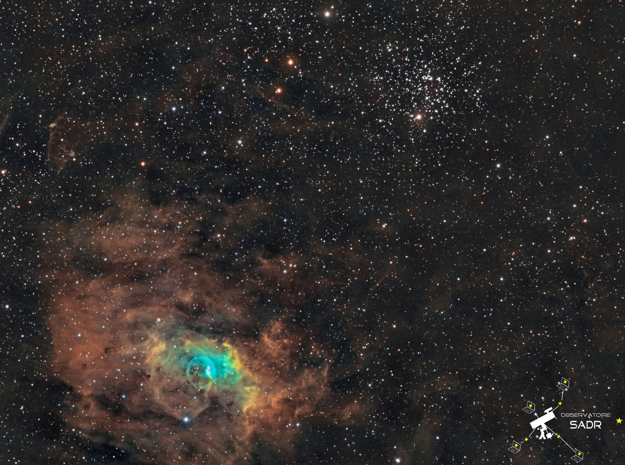 M52 et NGC7635, la nébuleuse de la Bulle, Jean-Paul et Julien, Sadr Espagne