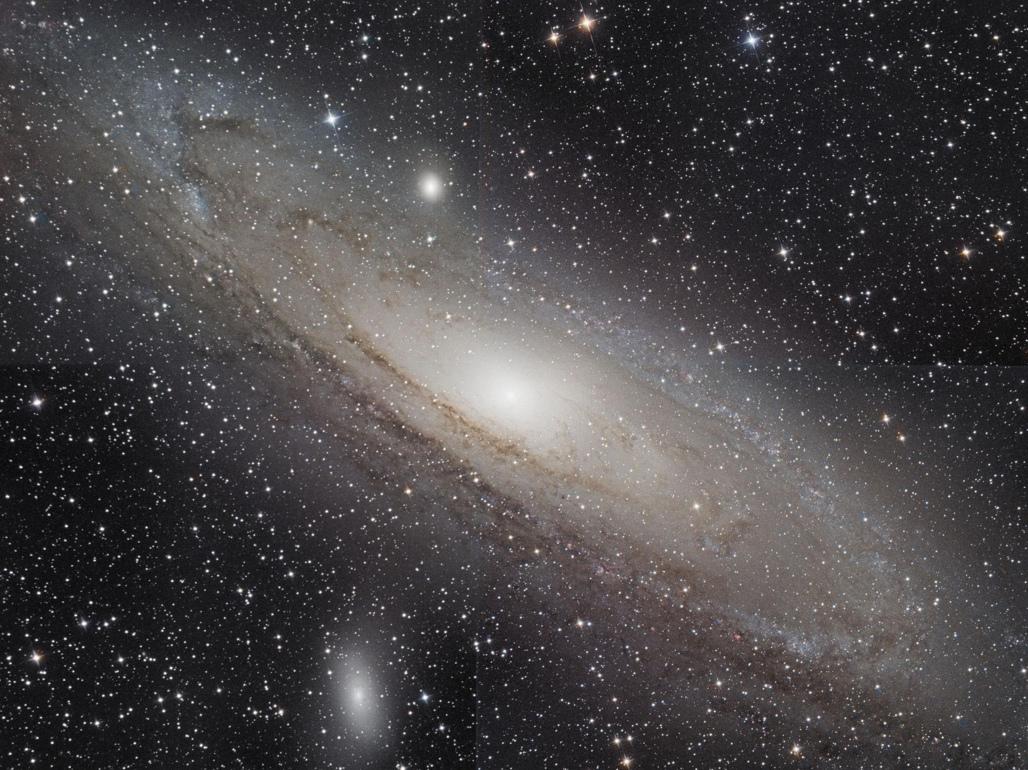 M31, mosaïque de 4 images, Ha (7x10min), L (10x5 min), RVB (10x3 min chaque), 9 octobre 2016 Gilles
