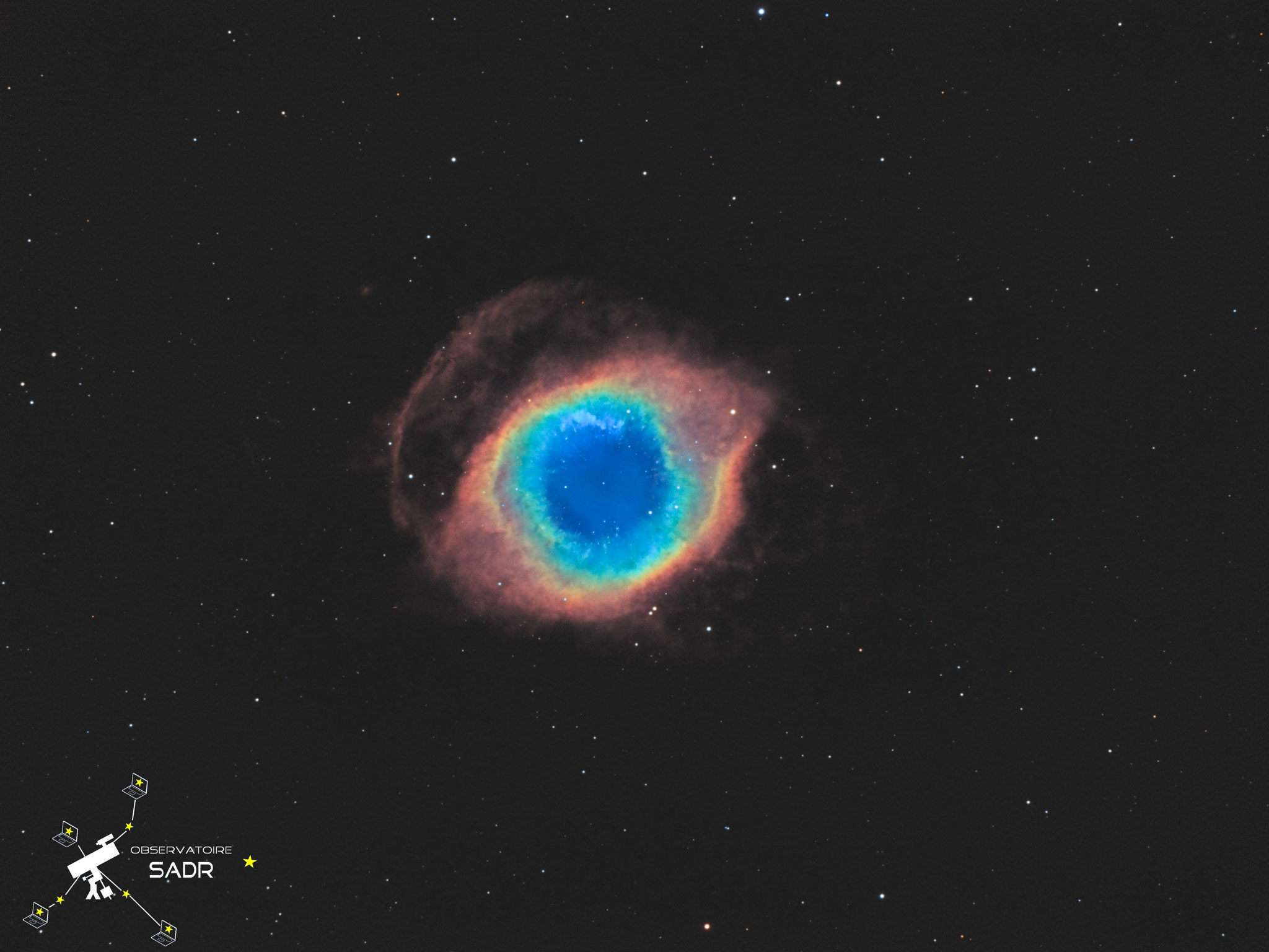 NGC7293, Hélix, lunette 120, 24h de poses en filtres SHO, Sadr Espagne