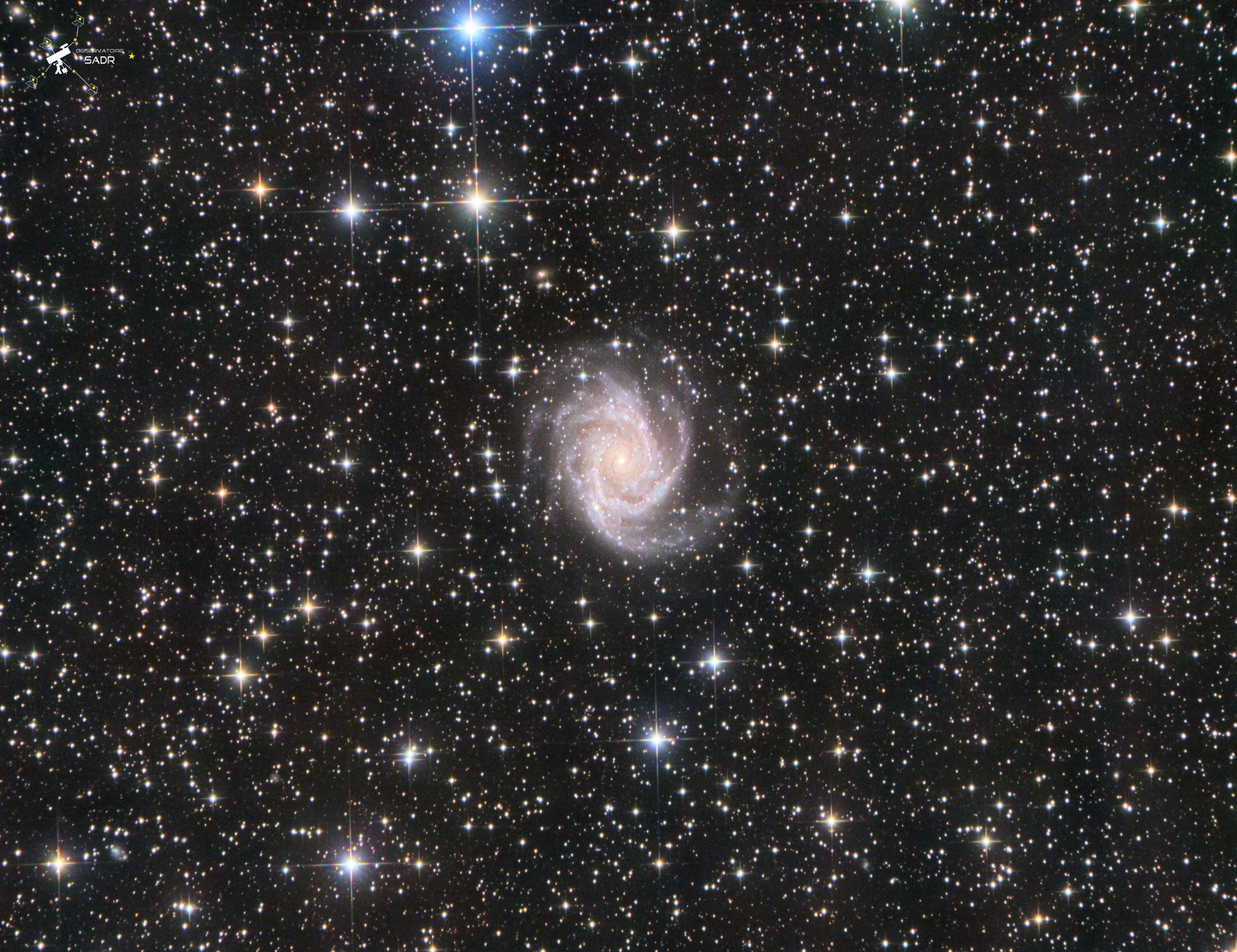 NGC2997 à 50 millions d'al dans la constellation de la Machine pneumatique. Des poses de 5 min en LRVB (63, 15, 15, 19), total ) 9h 20, T355, Chili, février 2019