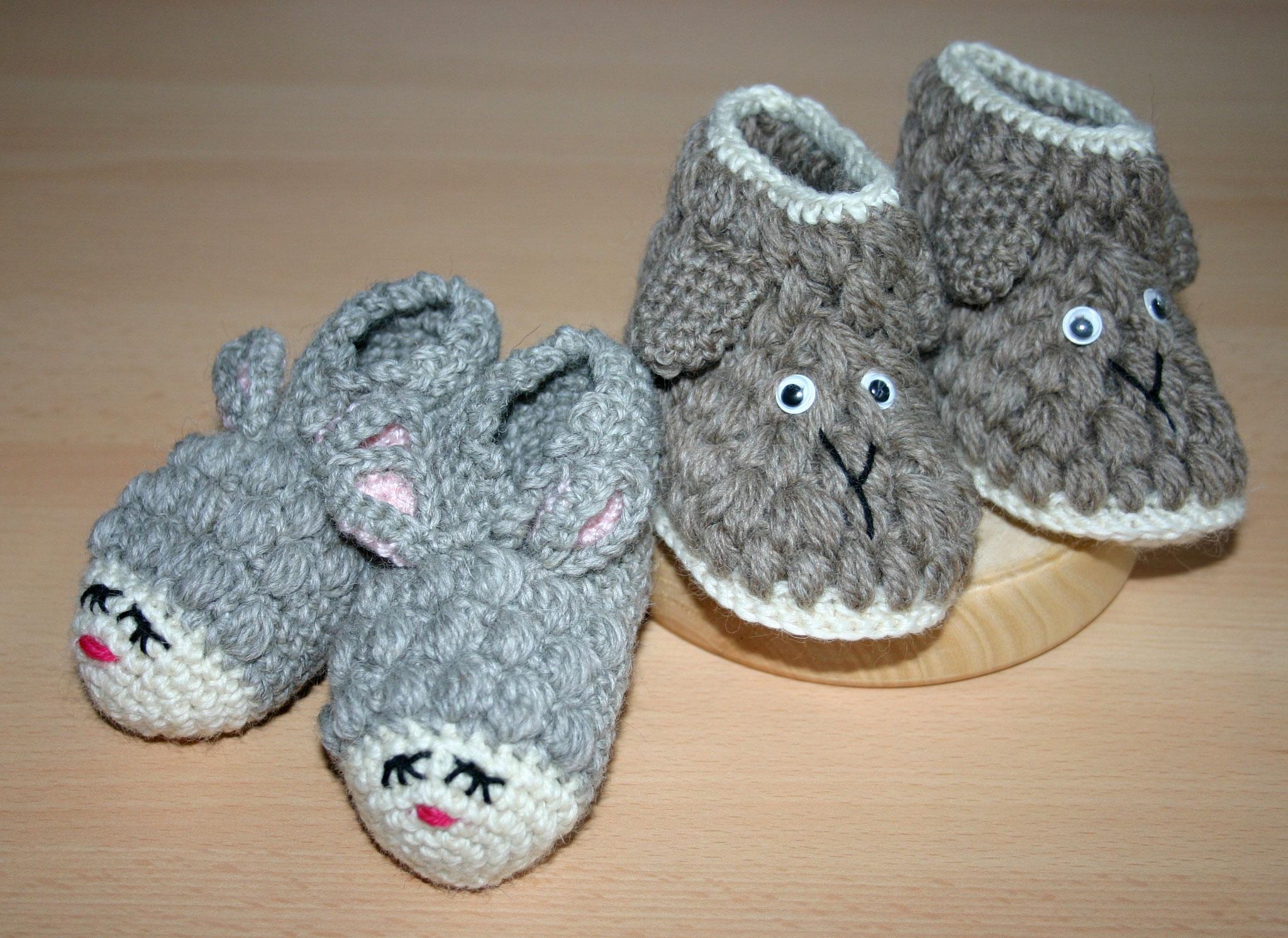 Babyschuhe Schaf natur gestrickt
