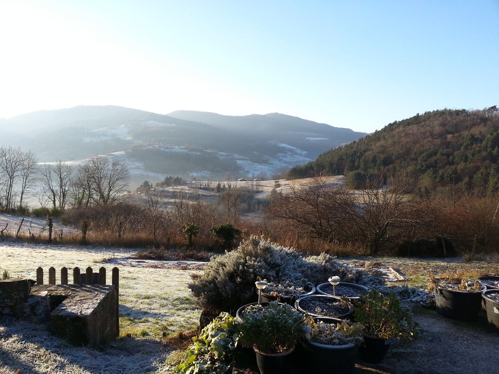 winteruitzicht vanuit het huis