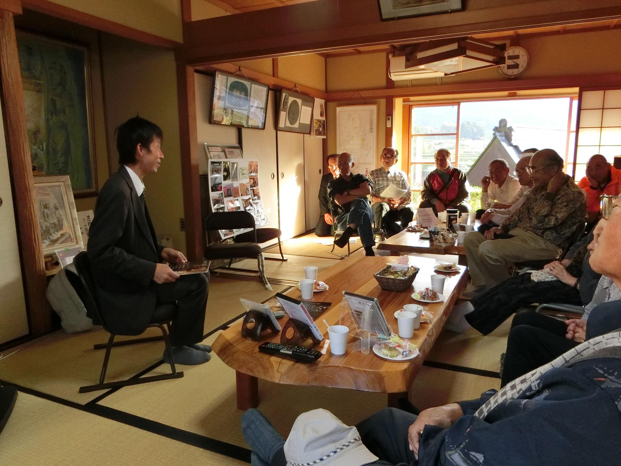 講演会のあと松田先生は、石位寺でのビデオ収録放映会にも・・・