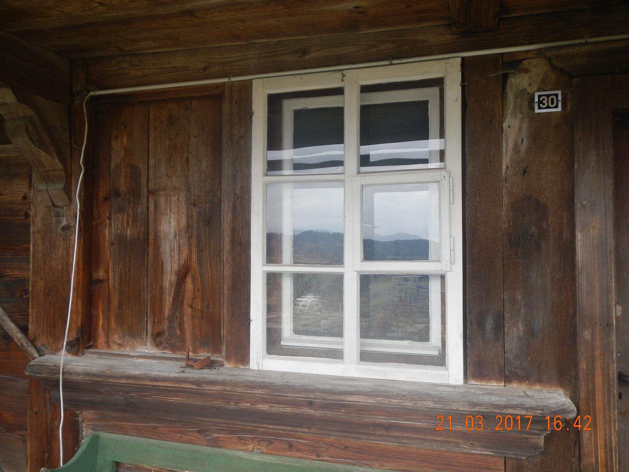 Einbau Doppelfenster mit Sprossen, innen und aussen