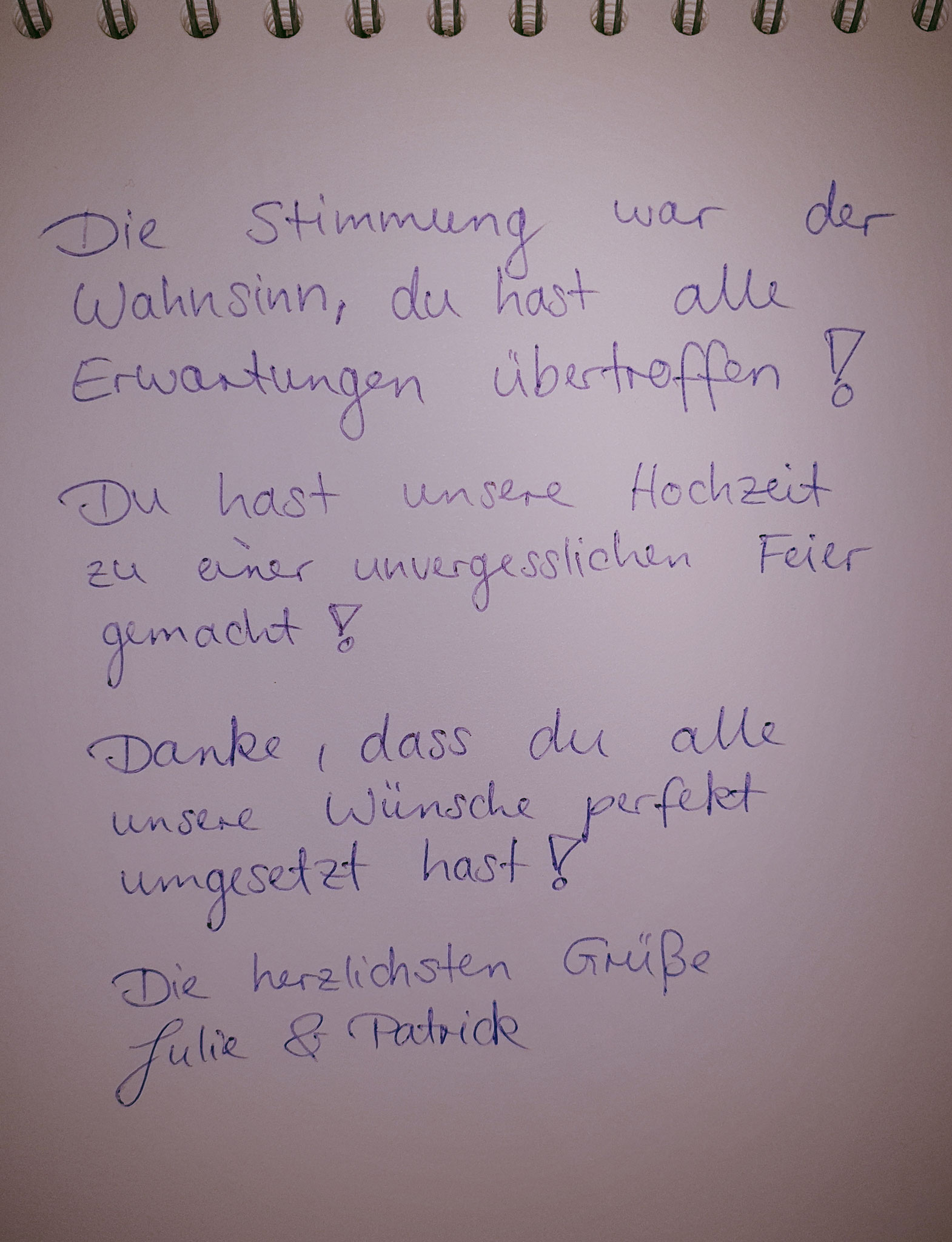 Kundenmeinung von Julie und Patrick ihre Hochzeit wurde auf der Burg Hornberg gefeiert