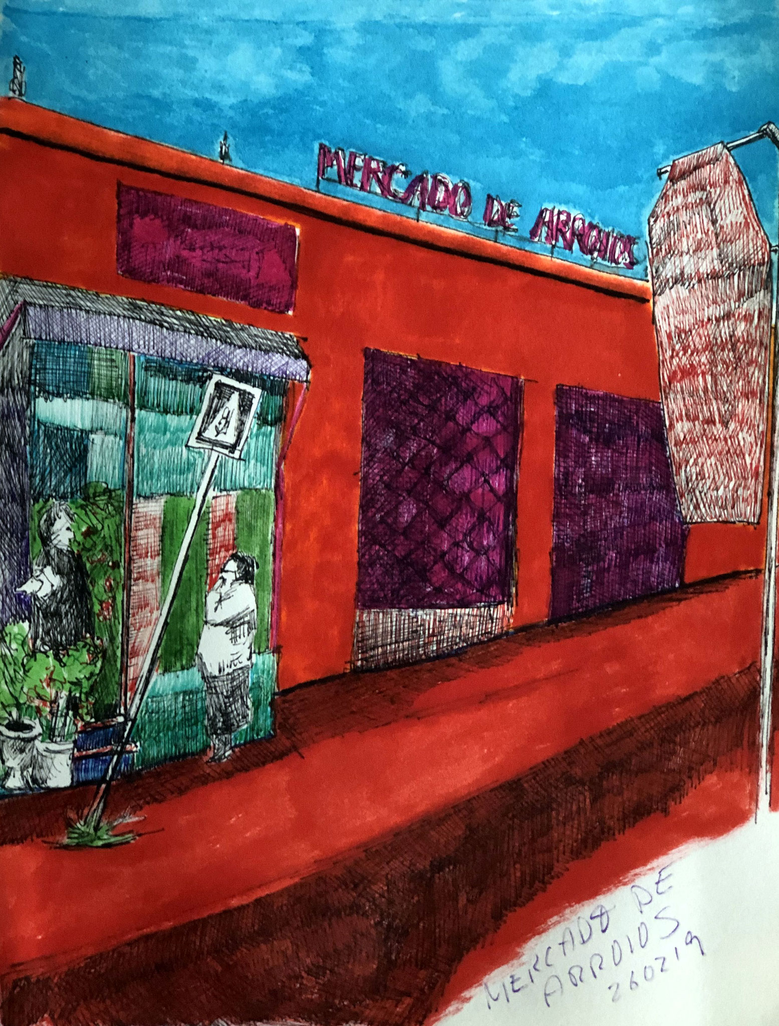 aus meinem Skizzenbuch: LISBOA, MERCADO DE ARROIOS     Mischtechnik auf Papier - 28 x 20cm