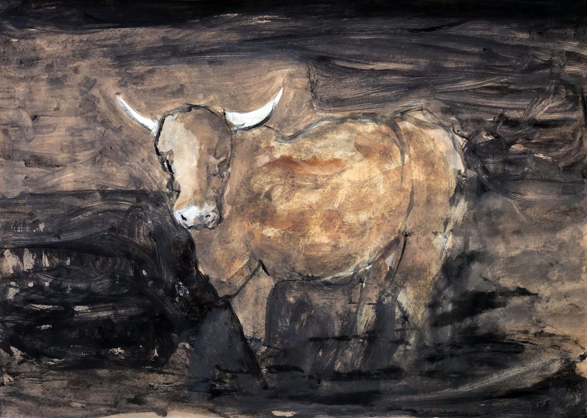 RETINTO XX    Erden, Tintensekret vom Kalmar und Olivensaft auf Papier - 49 x 69 cm